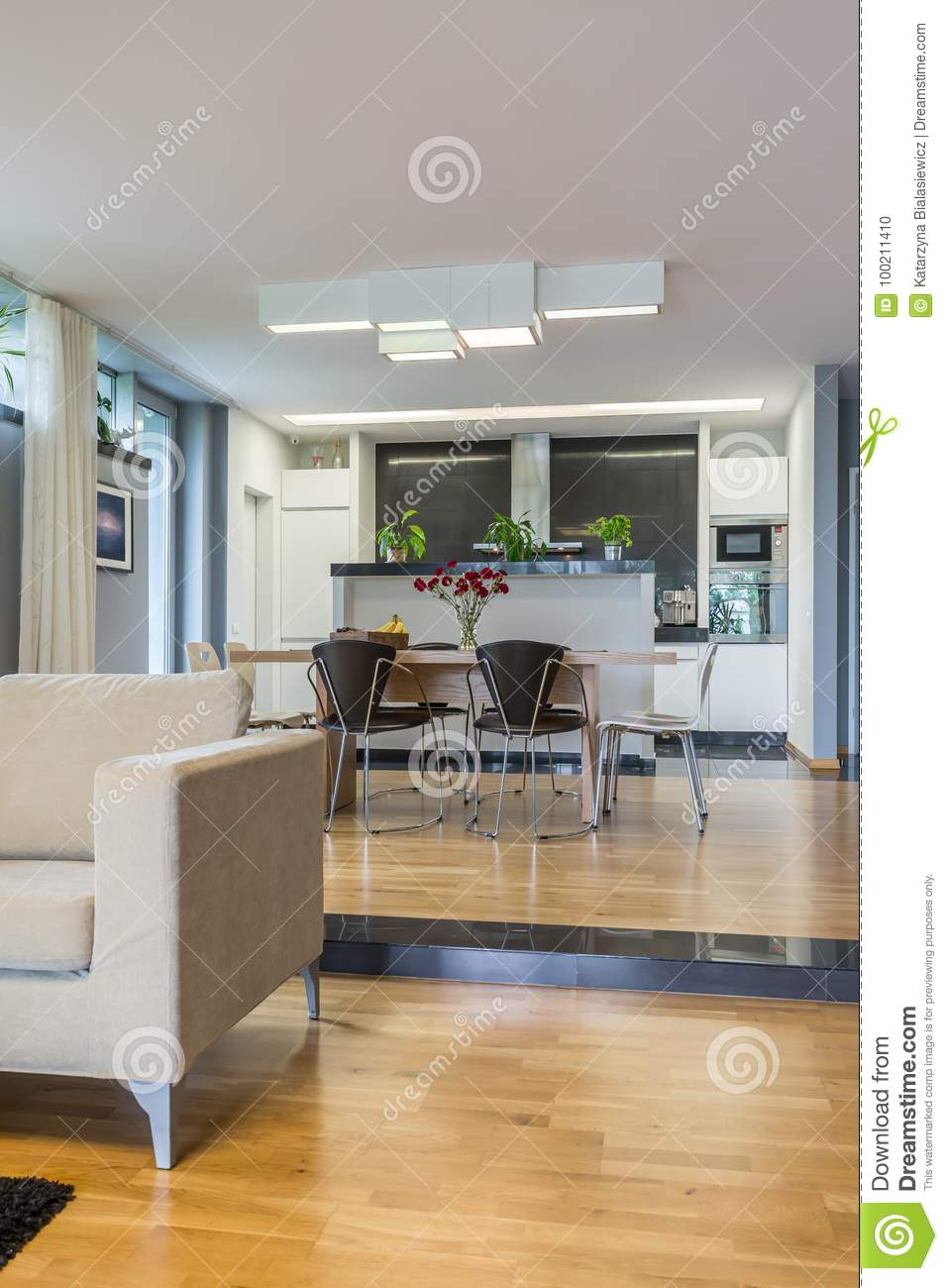 Lounge Connected With Dining Hall Stock Photo - Image of family ...