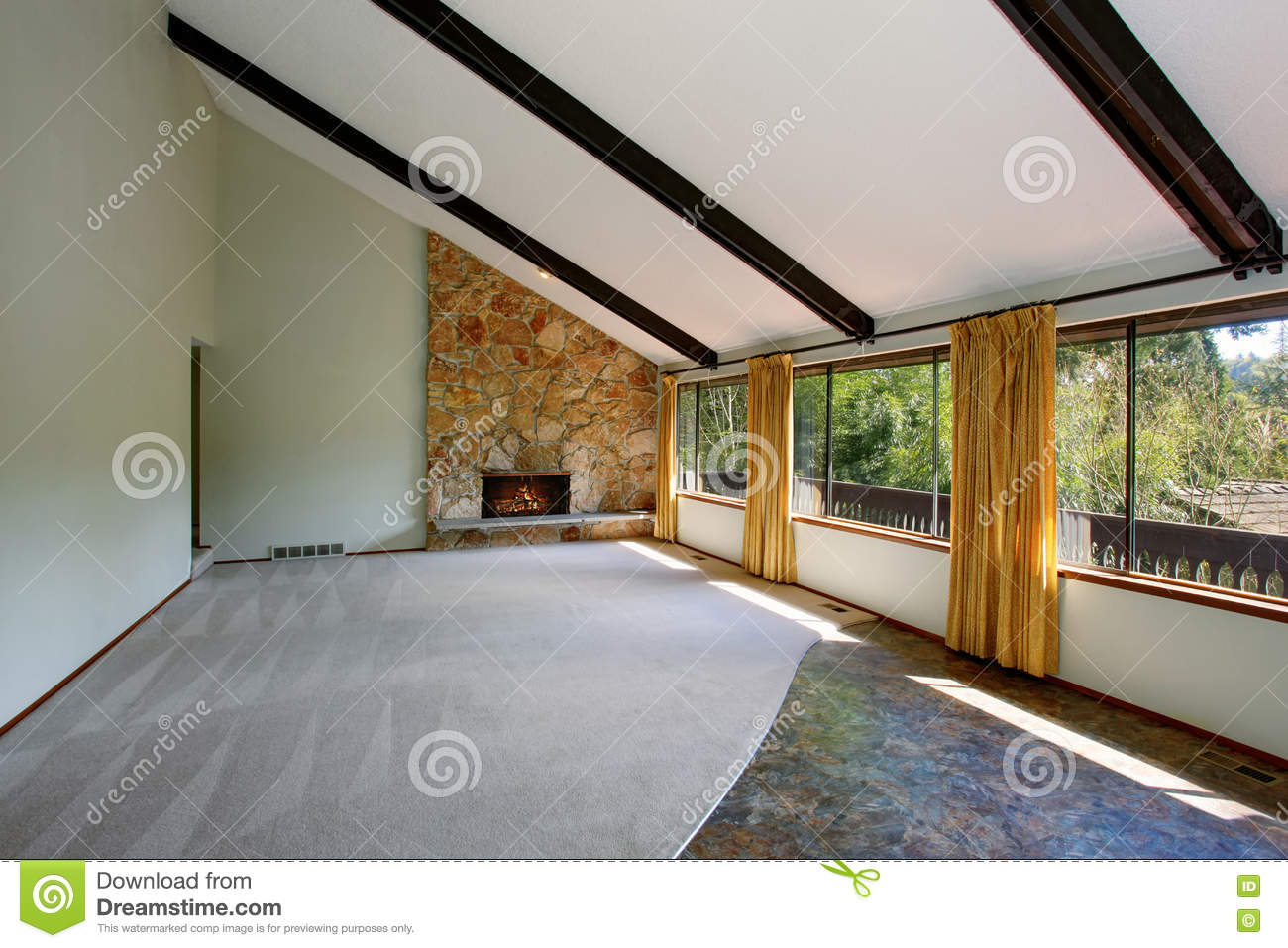 Beige Carpet Ceiling Curtains Fireplace Floor High Interior Living Room Spacious Stone Trim Unfurnished Vaulted