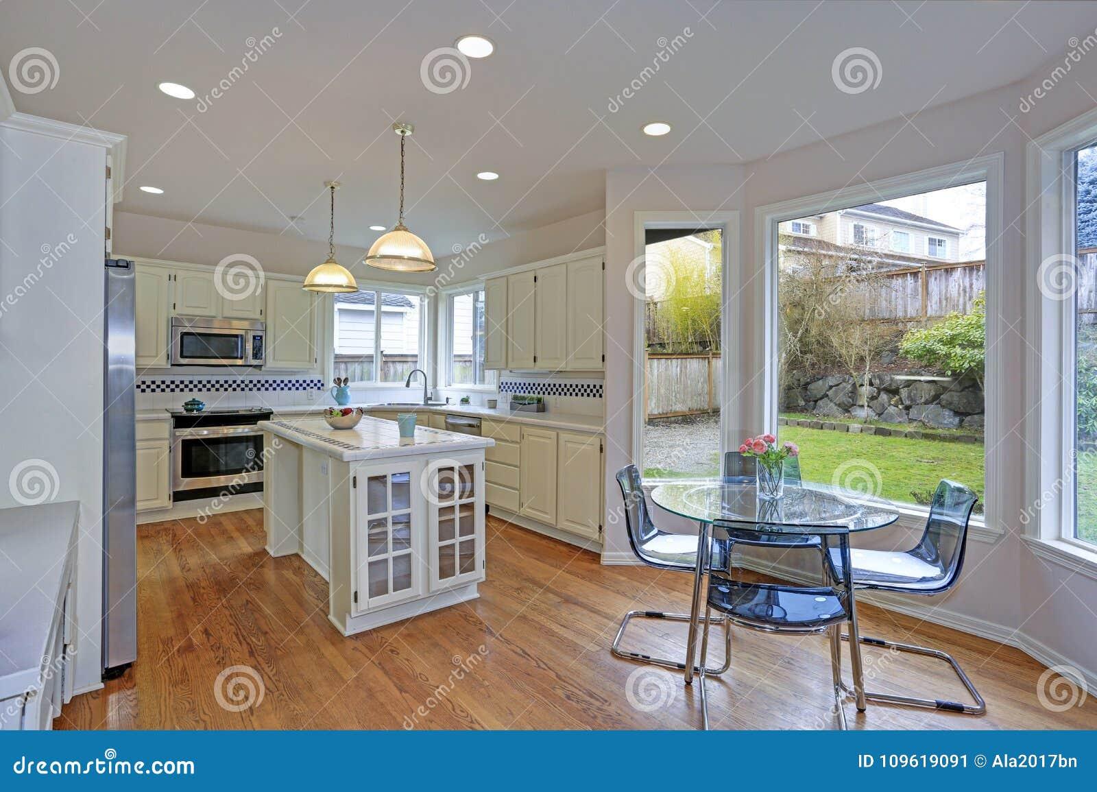 Spacious White Kitchen Interior With Kitchen Island Stock Image Image Of American Apartment 109619091