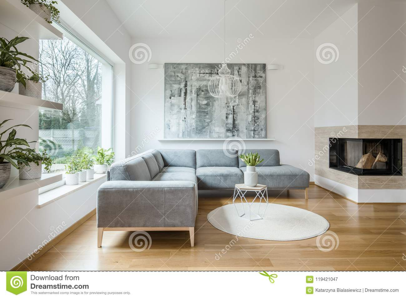 Spacious White Living Room Interior With Grey Couch Stock
