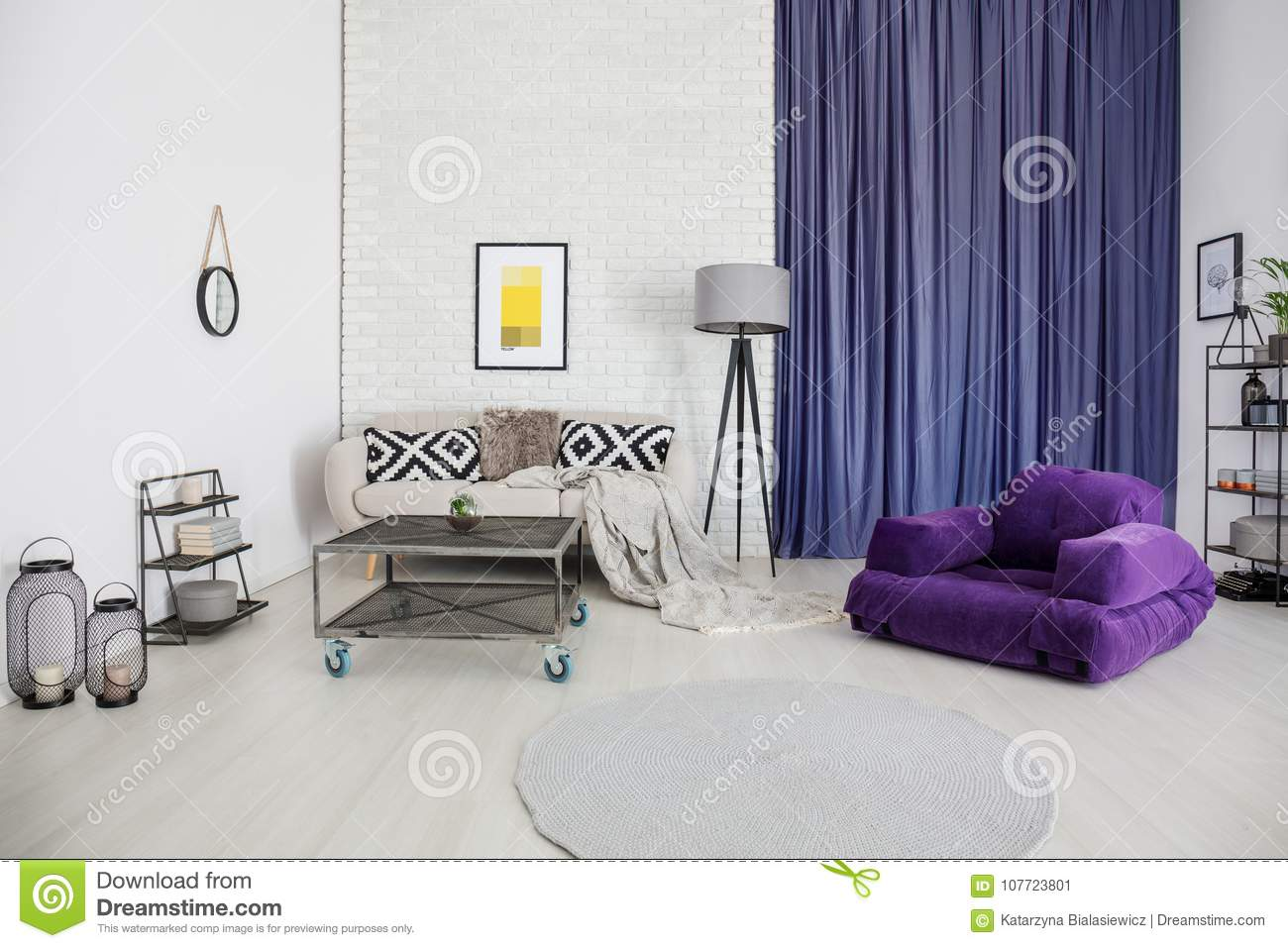 Living Room With Purple Accents Stock Image - Image of furniture ...