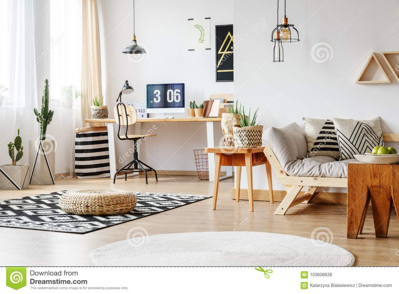 Spacious Work Zone With Rugs Stock Photo Image Of Carpet Apple