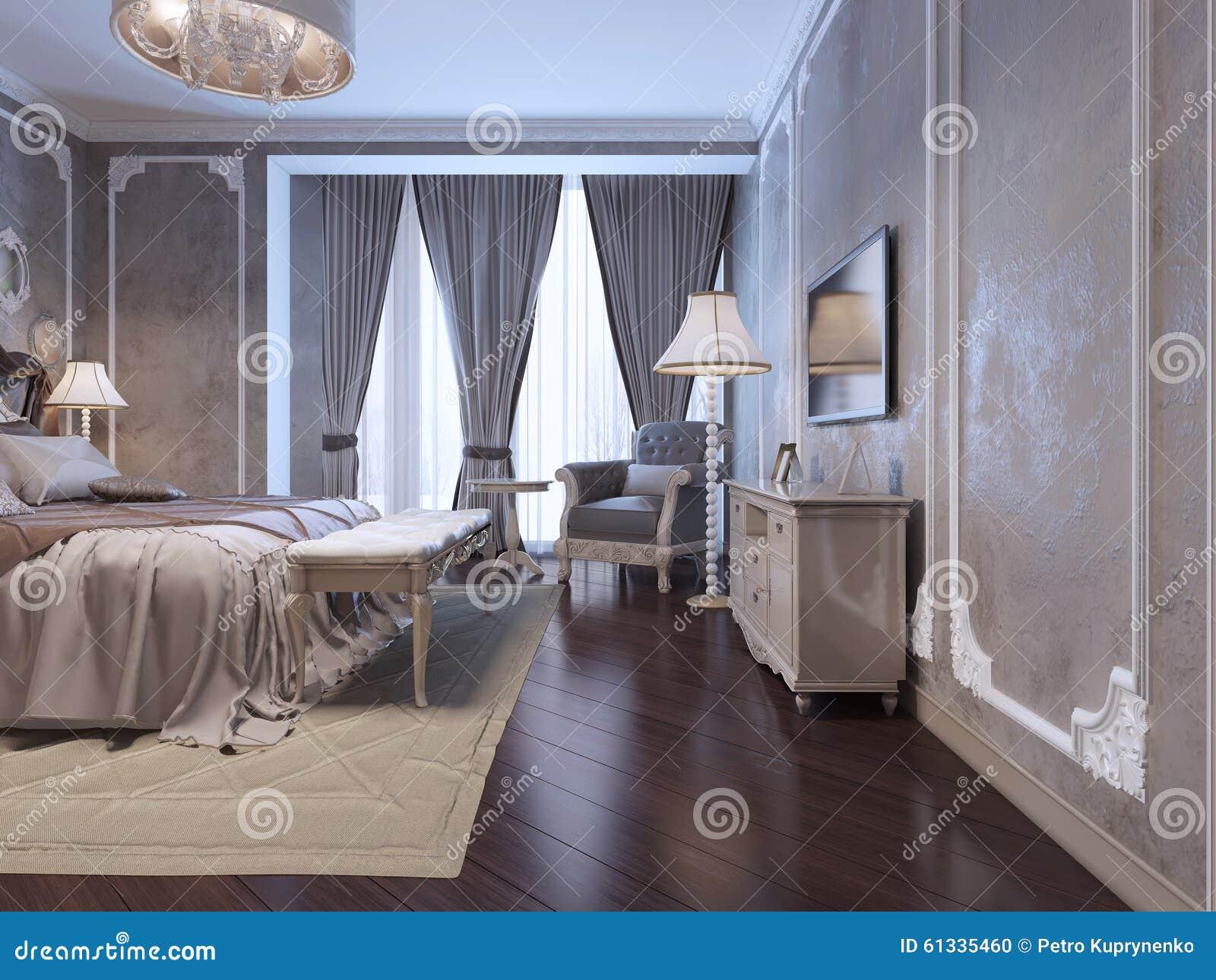 spacy-schlafzimmer mit großem fenster stock abbildung - bild: 61335460 - Schlafzimmer Fenster