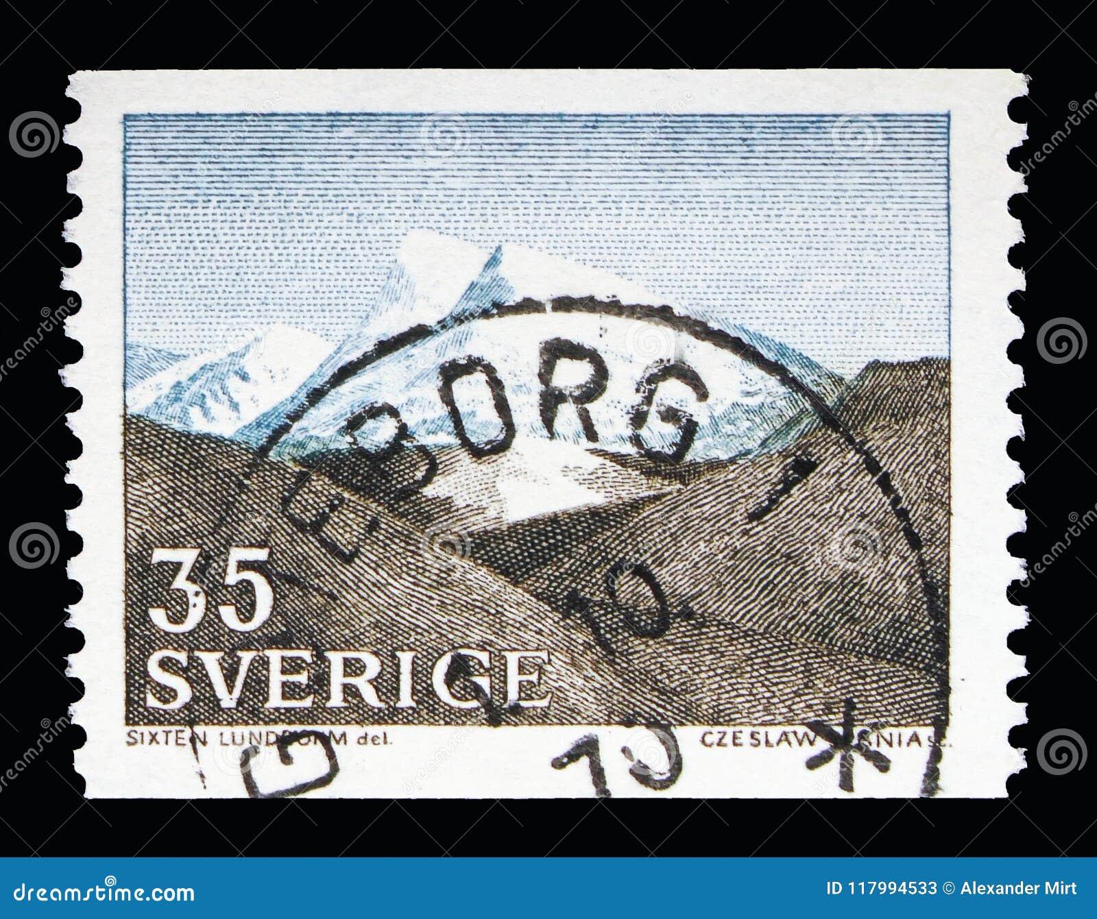 Spadał (Fjall krajobraz) w Północno-zachodni Szwecja, krajobrazy seria,