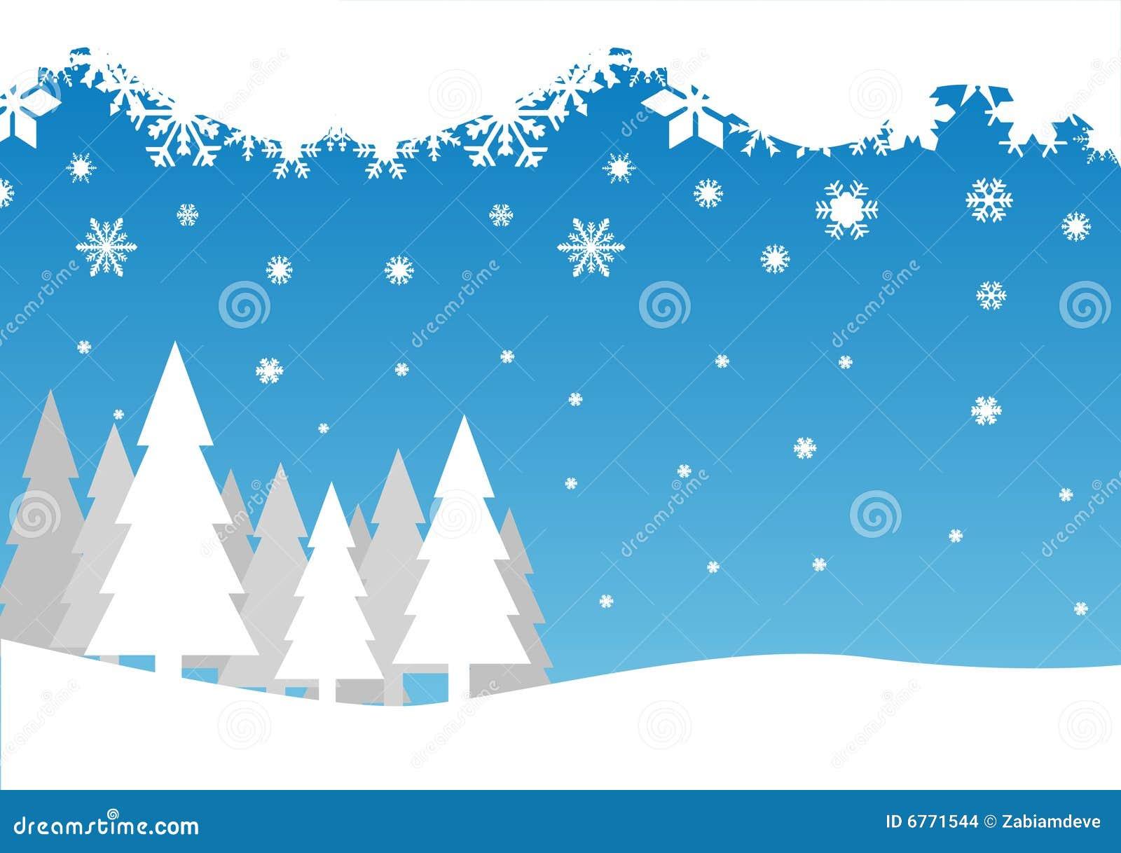 Spada śnieżni drzewa
