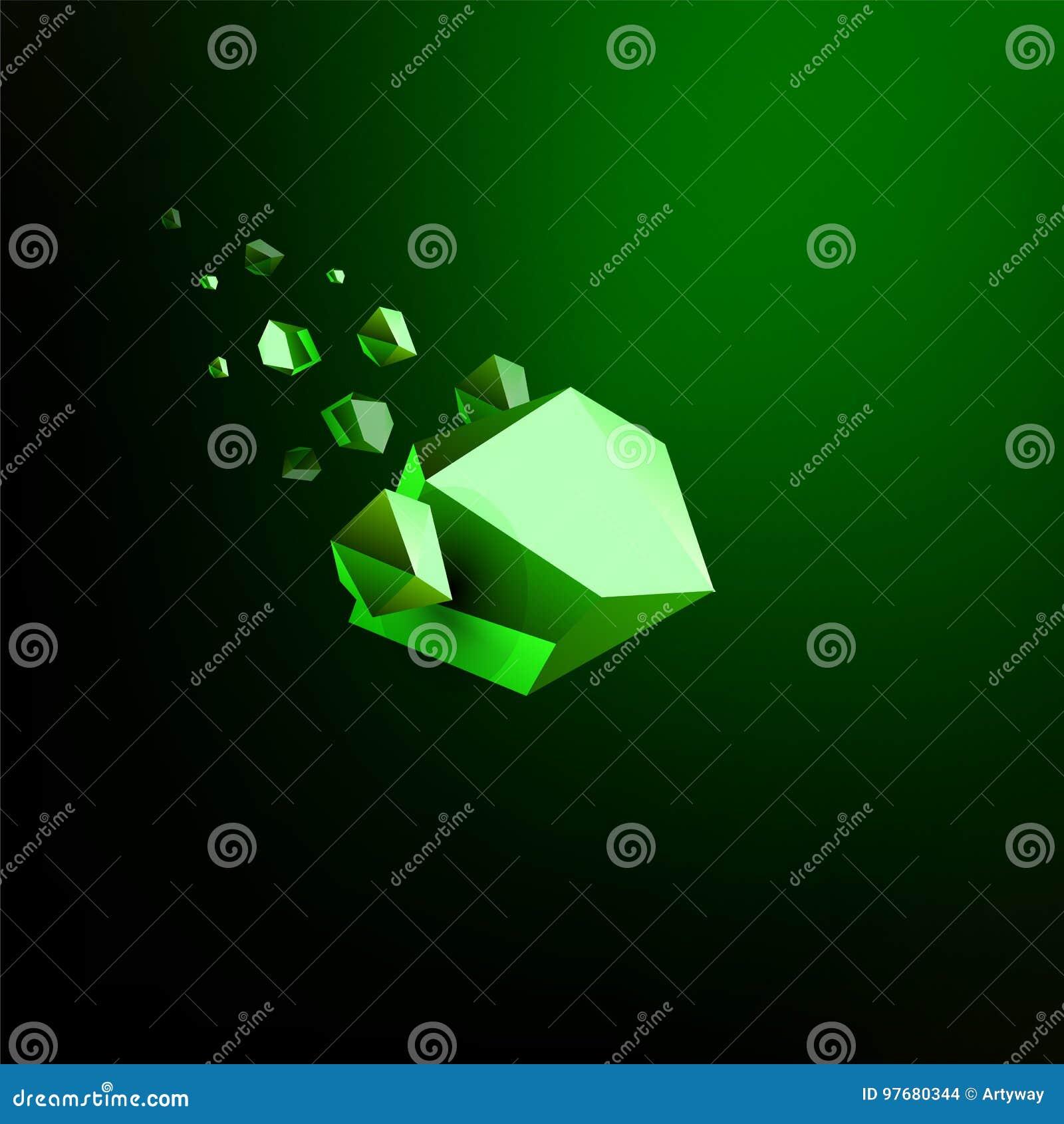 Spada piękno kamień, szmaragd, astronautyczni gruzy, zielenieje załamywać się asteroidę, wektorowa 3D ilustracja Odosobniony niez
