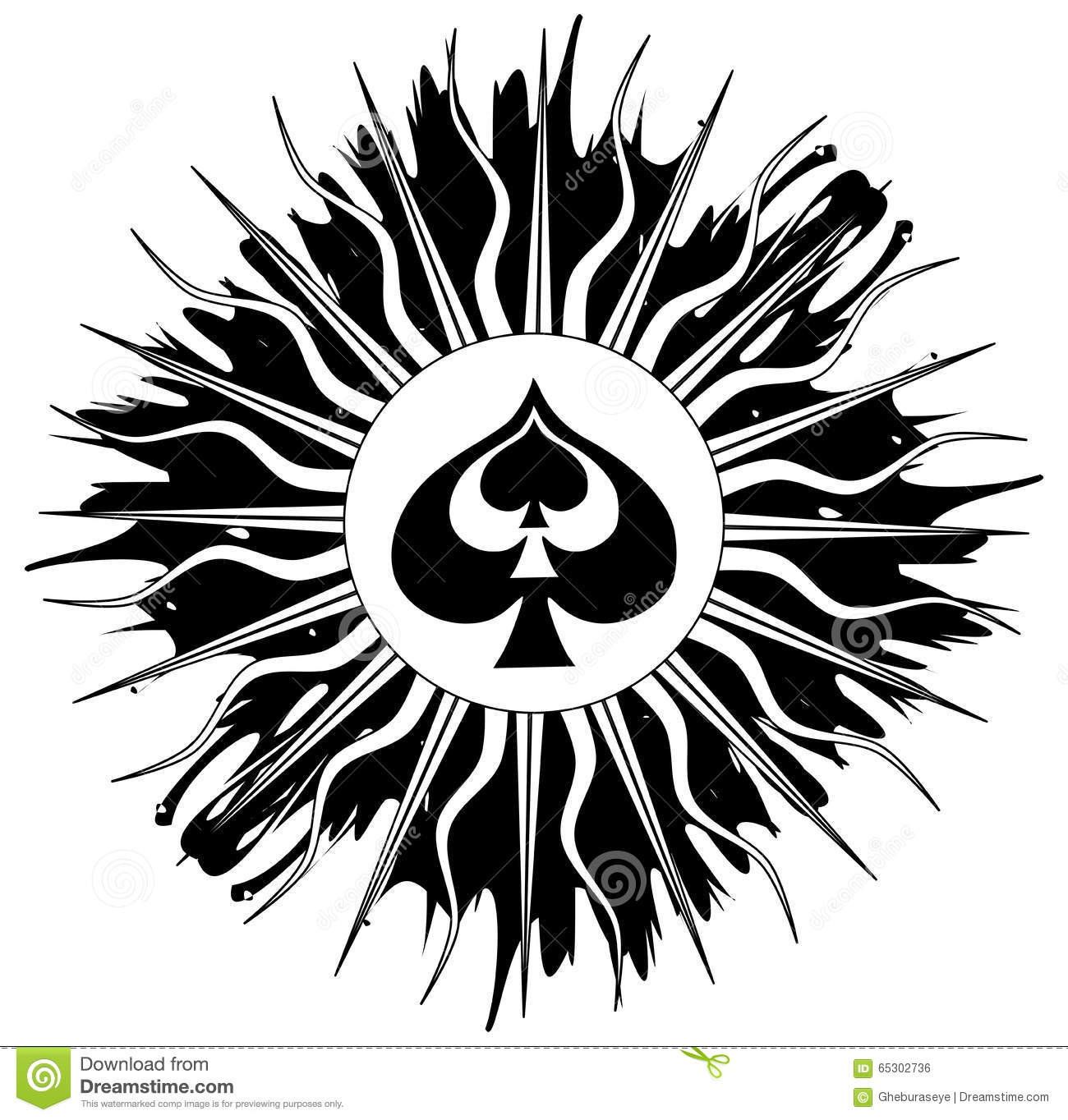 Spade on abstract decoration in black stock vector for Abstract decoration
