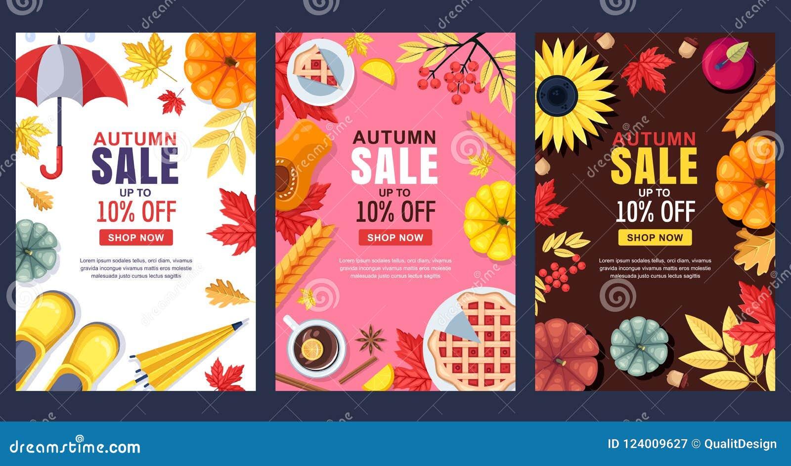 Spadek ilustracja Wektorowy sprzedaż sztandar, plakat lub Ramy, tła z jesieni żniwem, akcesoria i liście,
