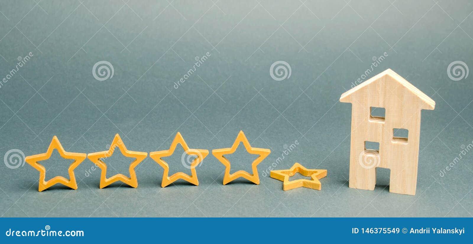 Spadek kwinty gwiazda blisko miniaturowego drewnianego domu Pojęcie spada ratingowa restauracja lub hotel Marnienie w usłudze
