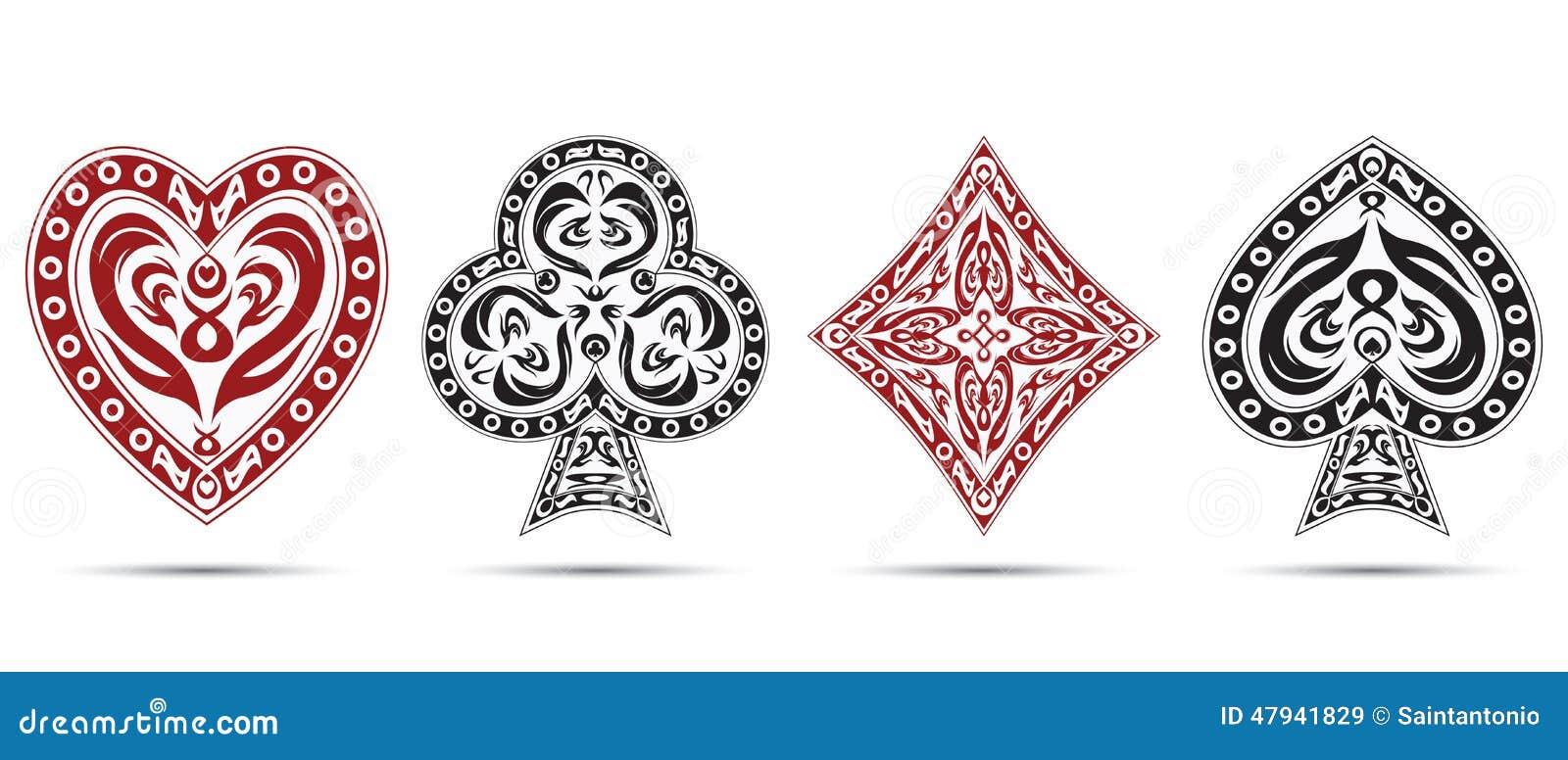 Spades, harten, diamanten, de kaartensymbolen van de clubspook op witte achtergrond worden geïsoleerd die