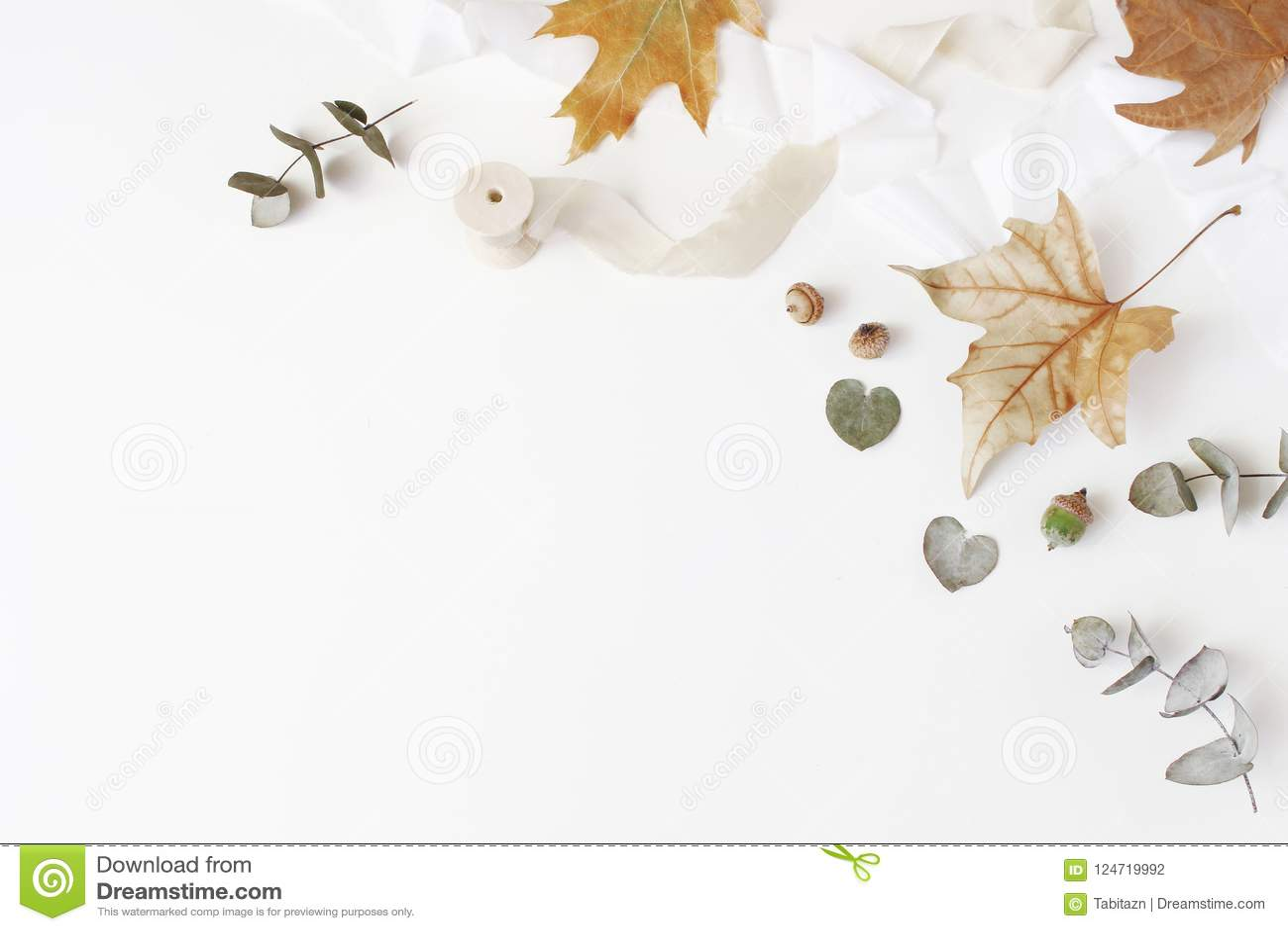 Spadku kreatywnie projektujący skład Jesieni kwiecisty przygotowania z suchym eukaliptusem, liśćmi klonowymi i jedwabniczym fabor