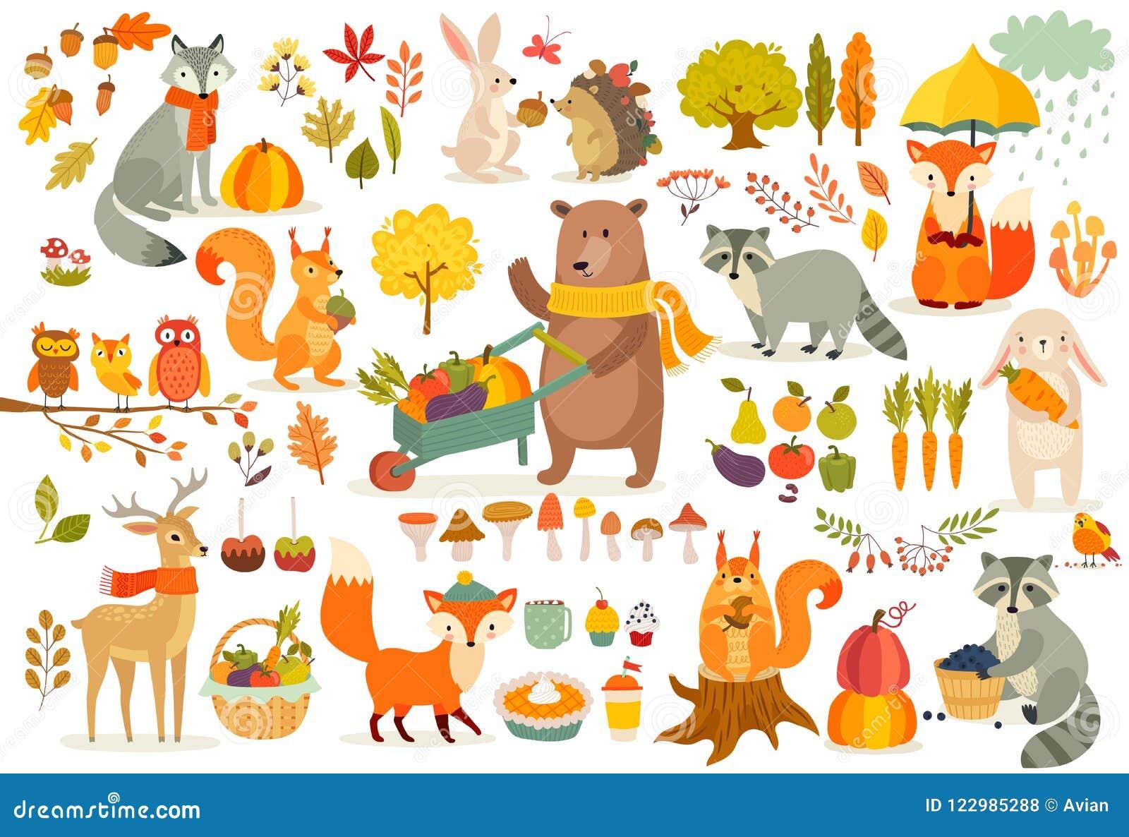 Spadku tematu set, lasowa ręka rysujący zwierzę styl