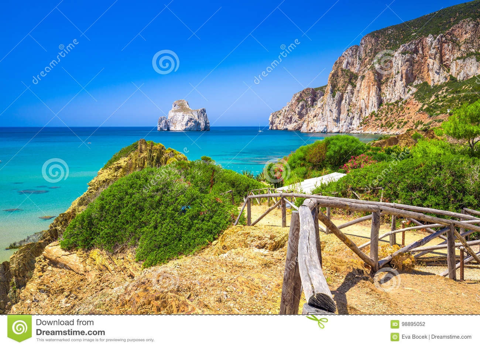 Spaggia Di Masua παραλία και Pan Di Τσούκερο, πλευρά Verde, Σαρδηνία, Ιταλία