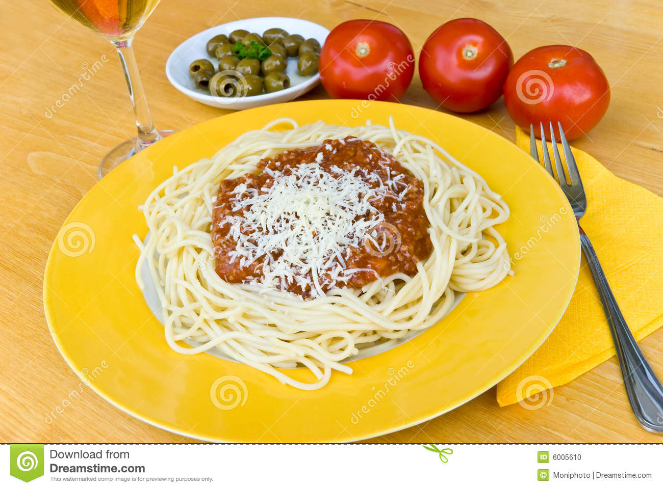 Stock photo spaghetti bolognese with parmesan cheese