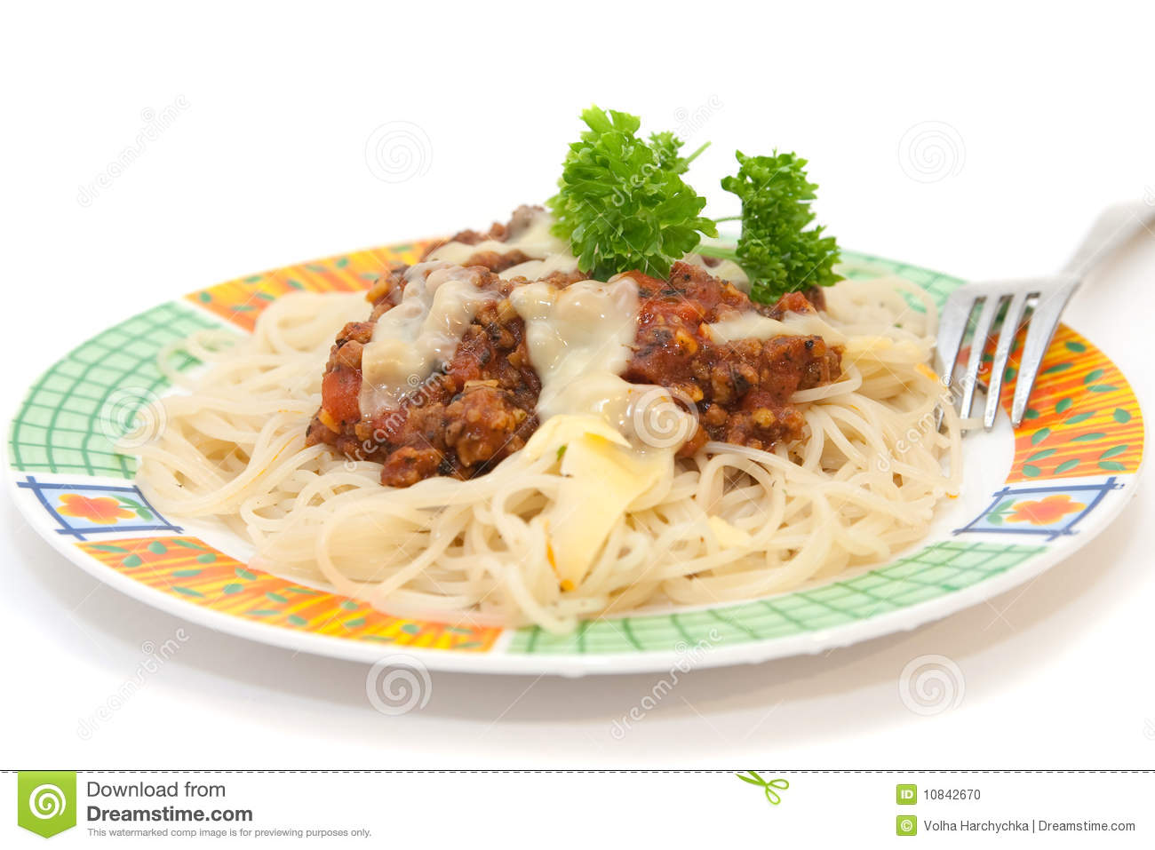 Freshly cooked plate of spaghetti with bolognese sauce sprinkled with ...