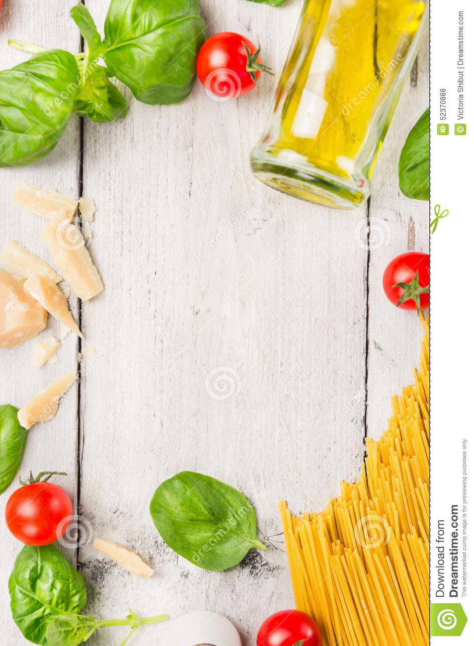 Spaghetti Cooking Ingredients: Oil,basil, Tomatoes And ...