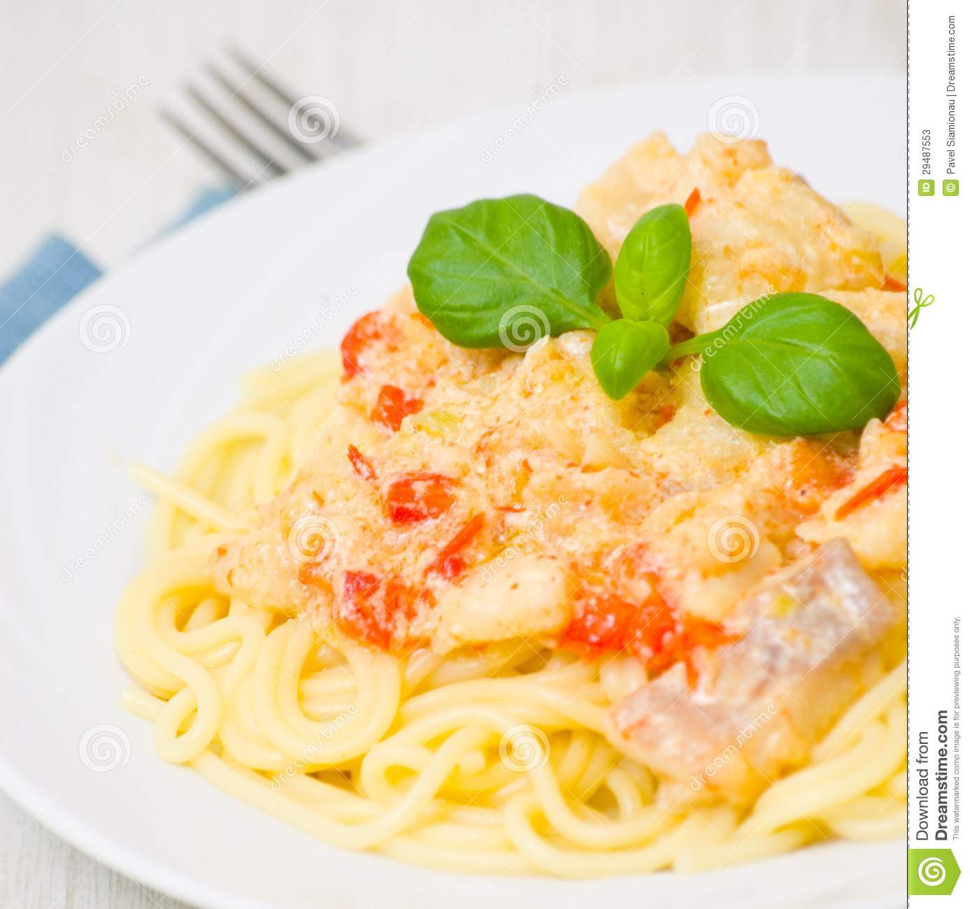 Sliced salmon with cream sauce stock photography for Creamy sauce for fish