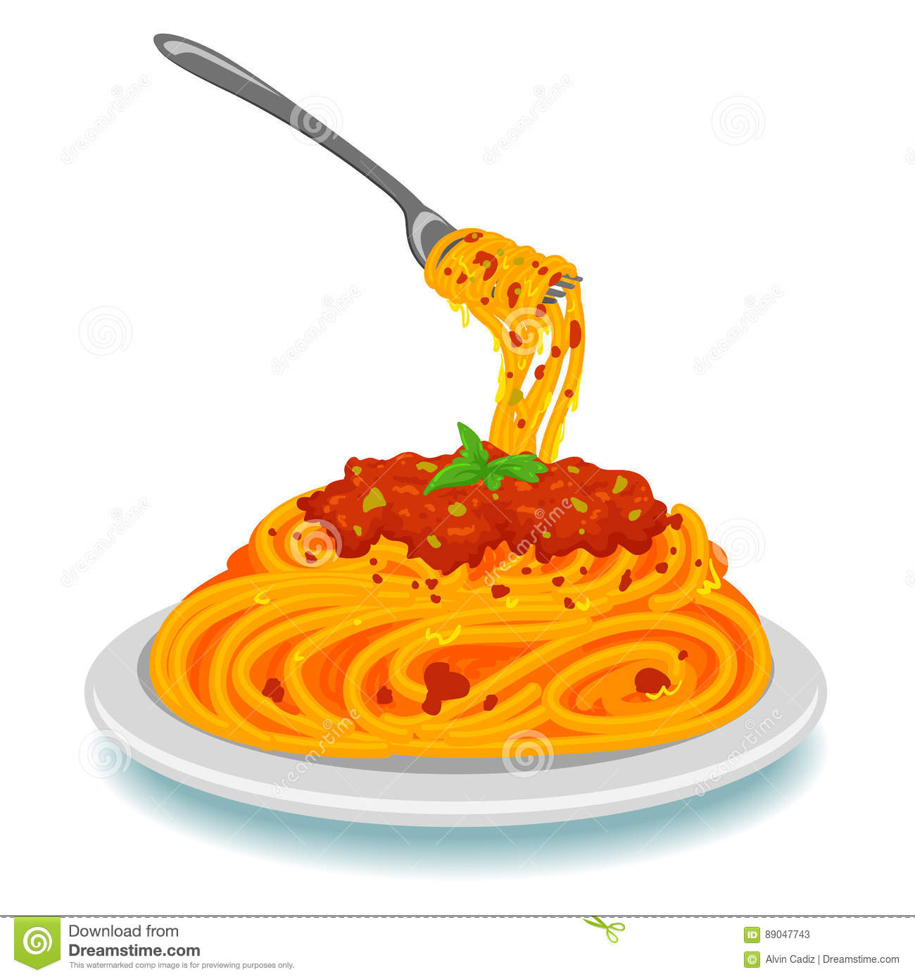 spaghetti with fork on plate stock vector illustration
