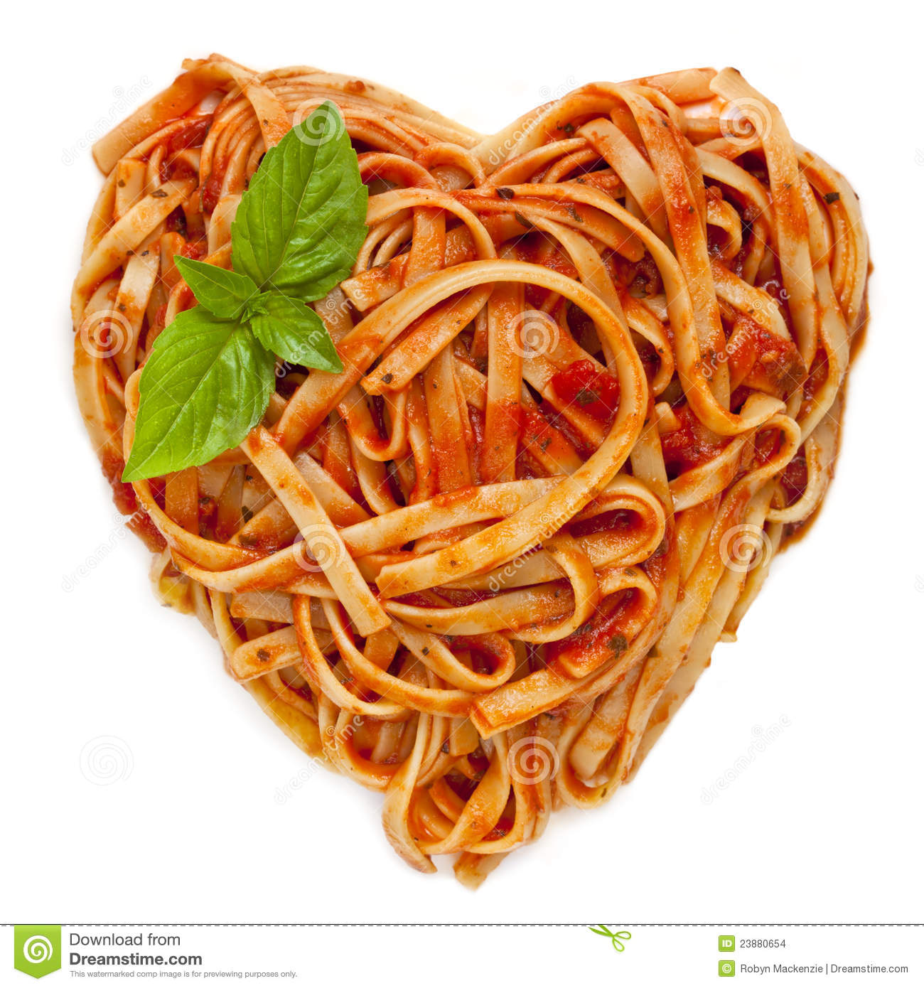 Spaghetti Heart Shape With Basil Stock Images Image