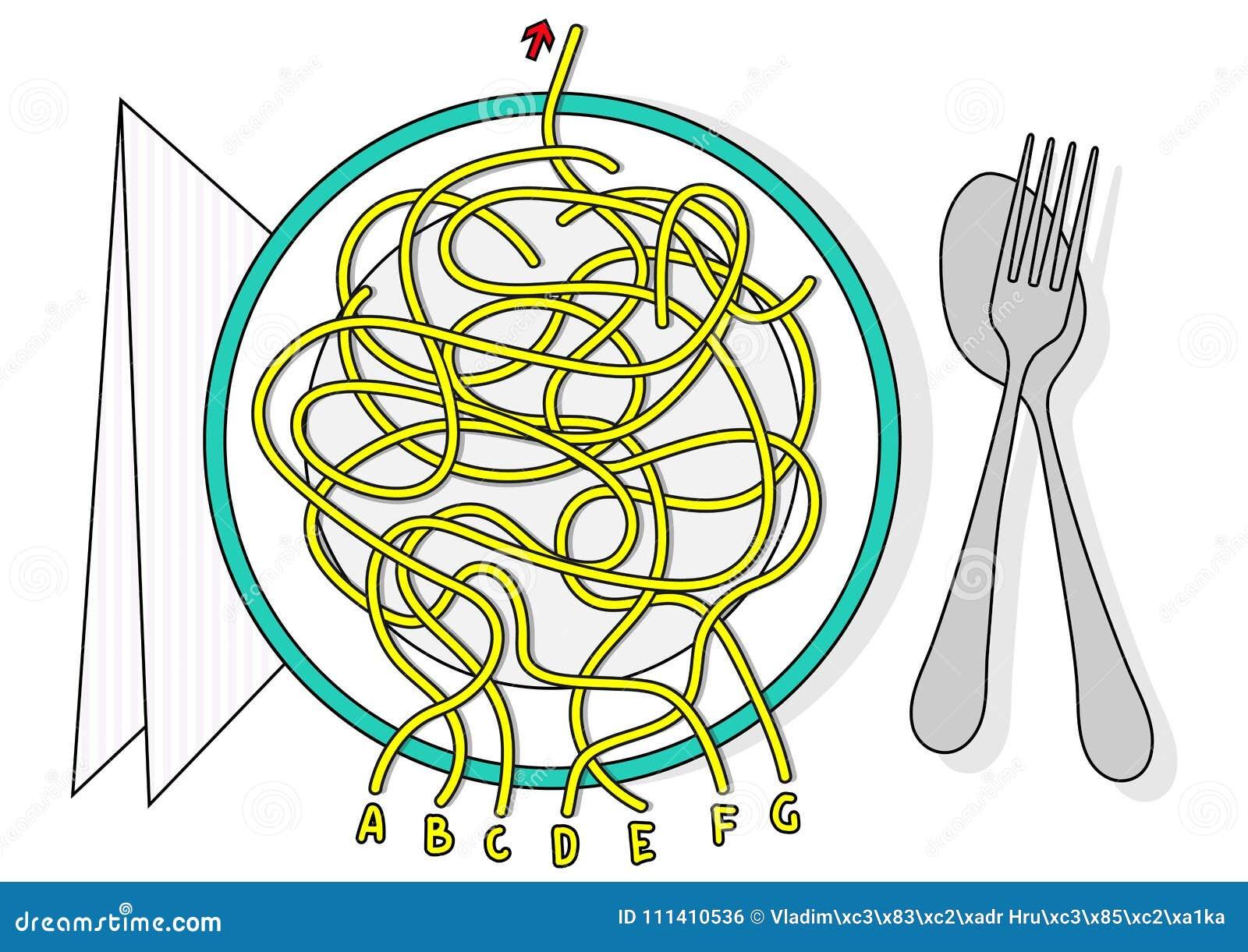 Spaghetti labityntu wektorowego labiryntu gemowa łamigłówka z rozwiązaniem w chowanej warstwie
