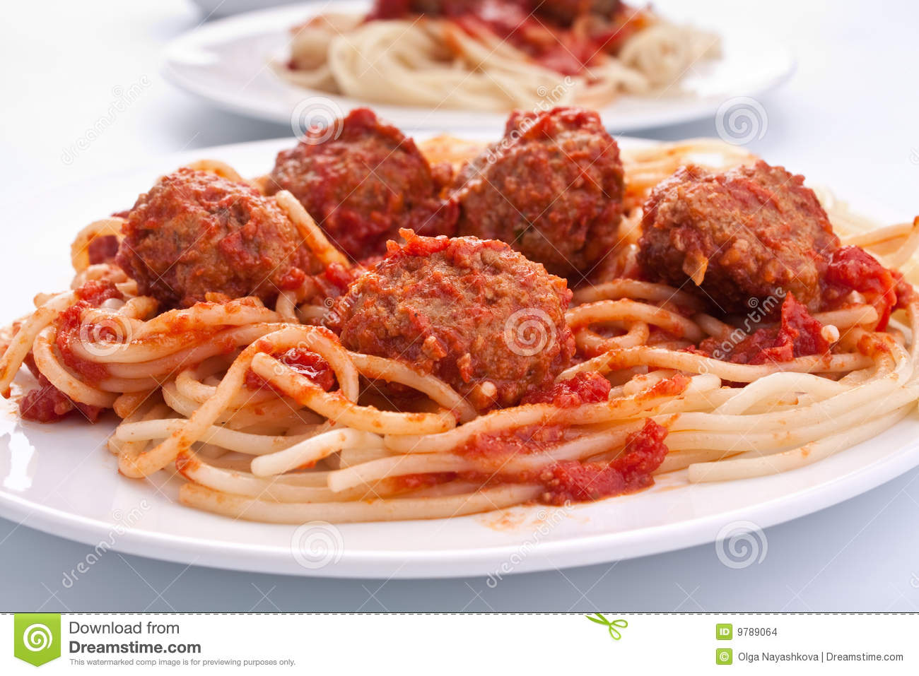 Spaghetti With Meatballs In Tomato Sauce Stock Images - Image: 9789064