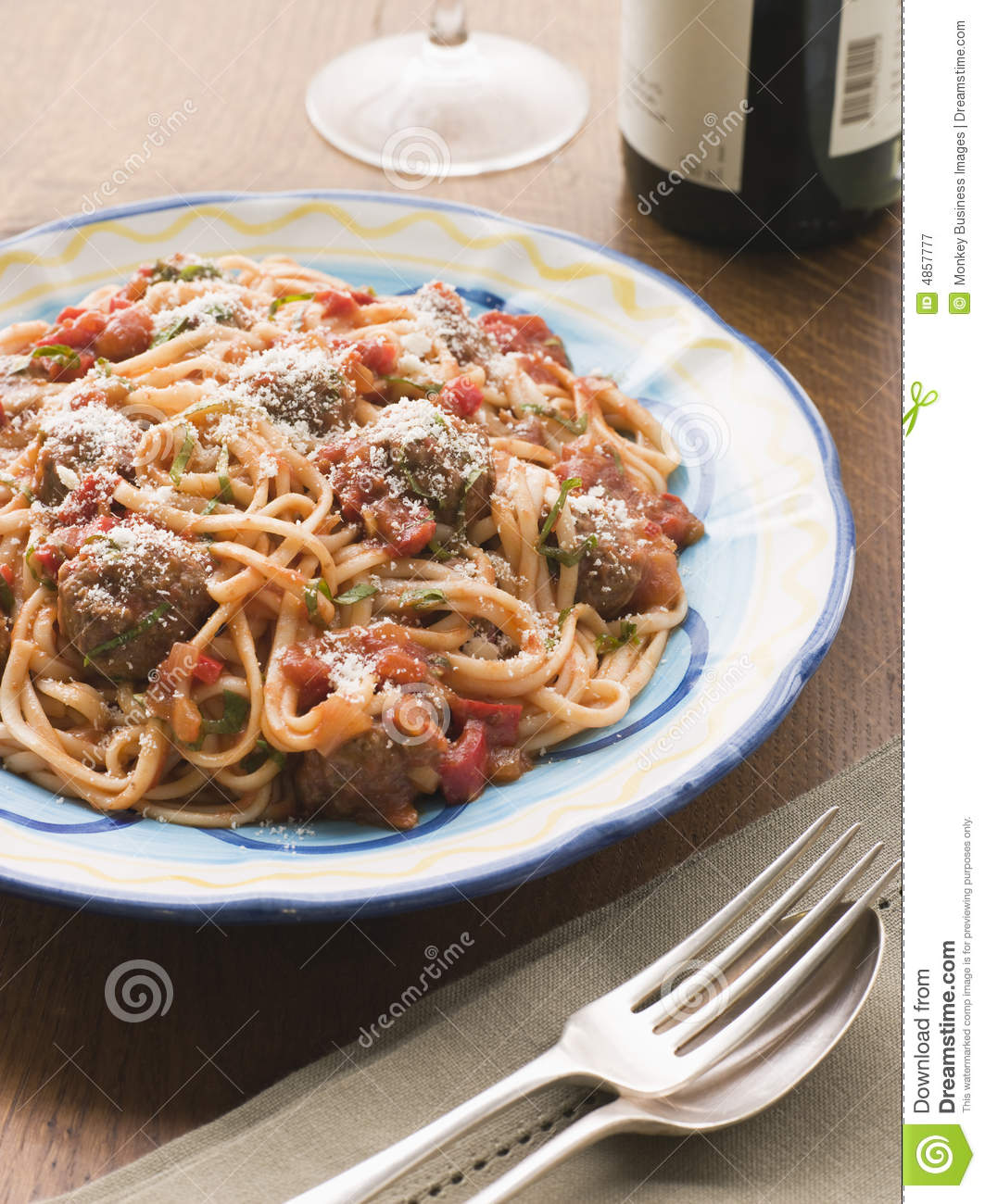 Spaghetti With Tomato Sauce And Parmesan Cheese Royalty Free Stock ...