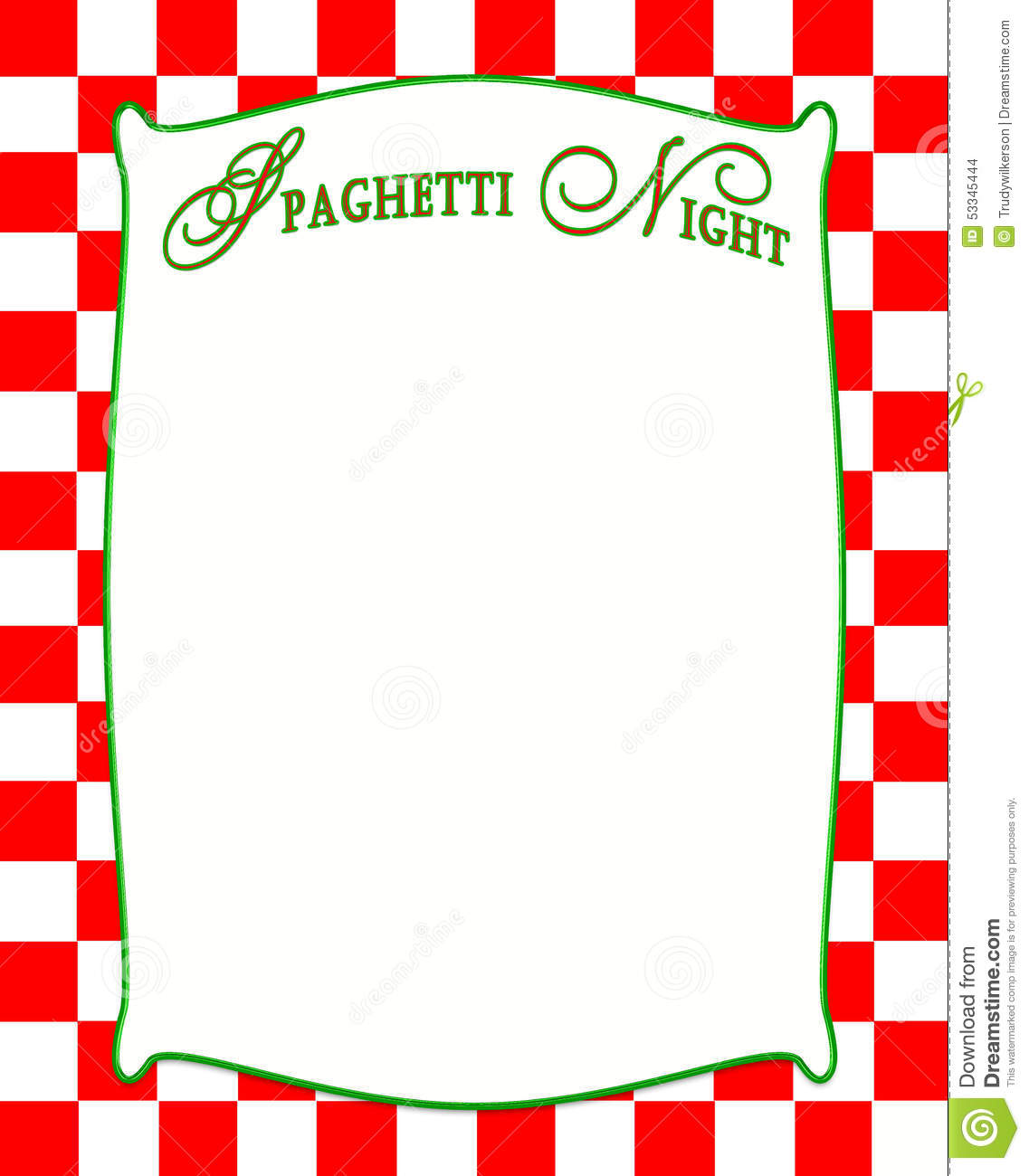 Spaghetti Border Clip Art spaghetti night background in red checkered ...