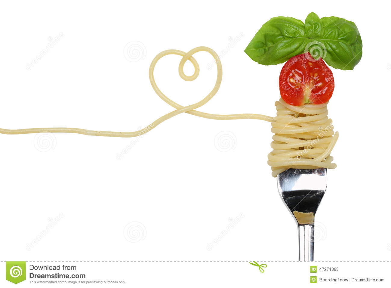 Spaghetti noodles pasta meal with heart on a fork love topic