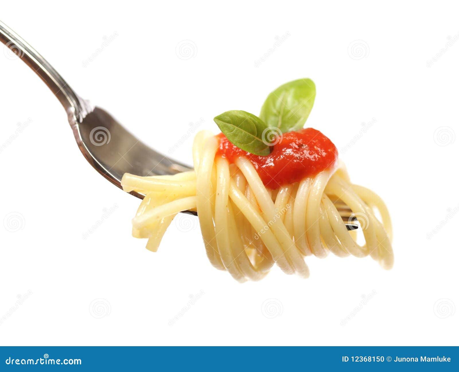 Spaghetti op een vork