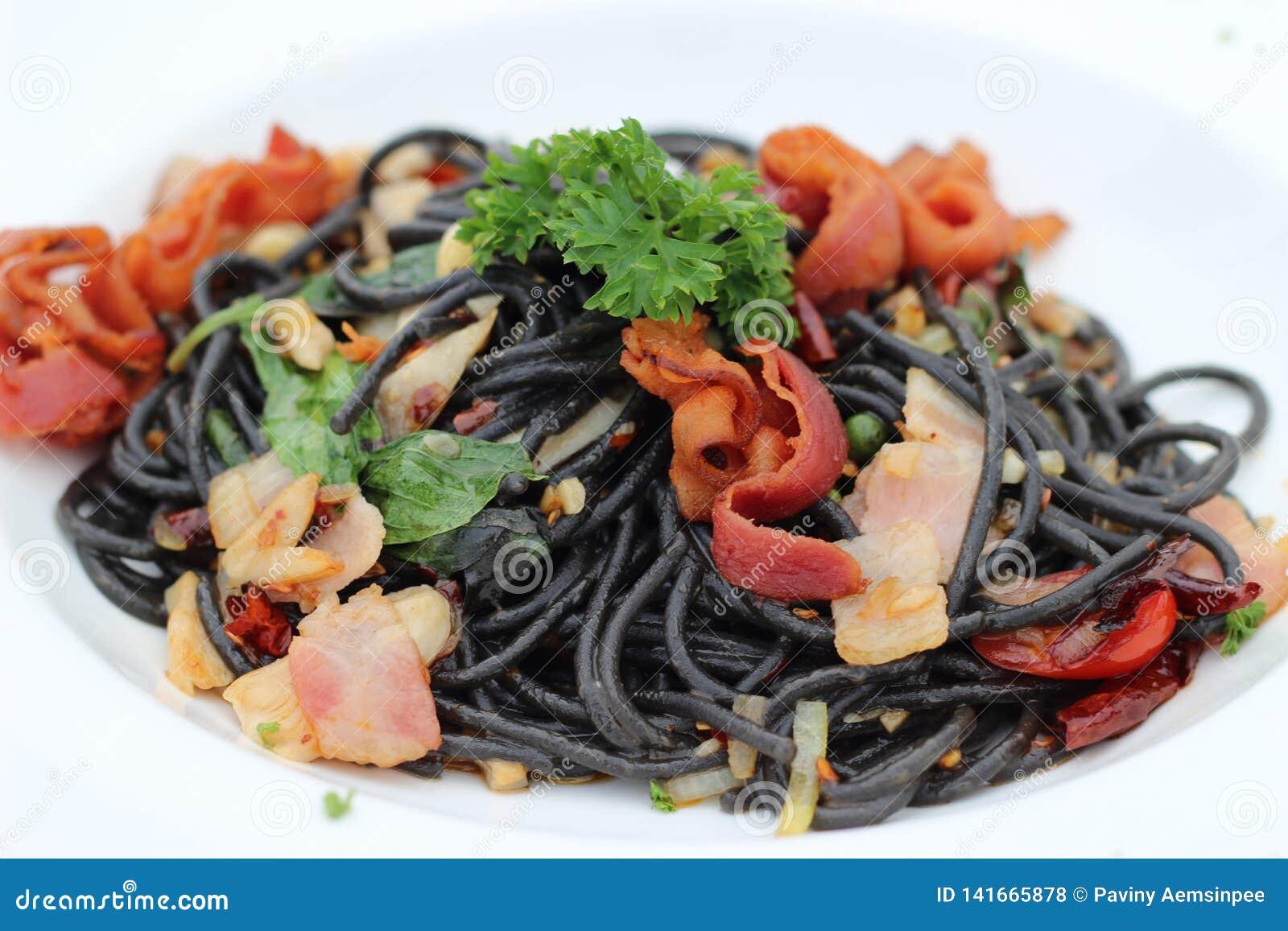 Spaghetti, pâtes, nourriture, Asiatique, Thaïlande, Bangkok