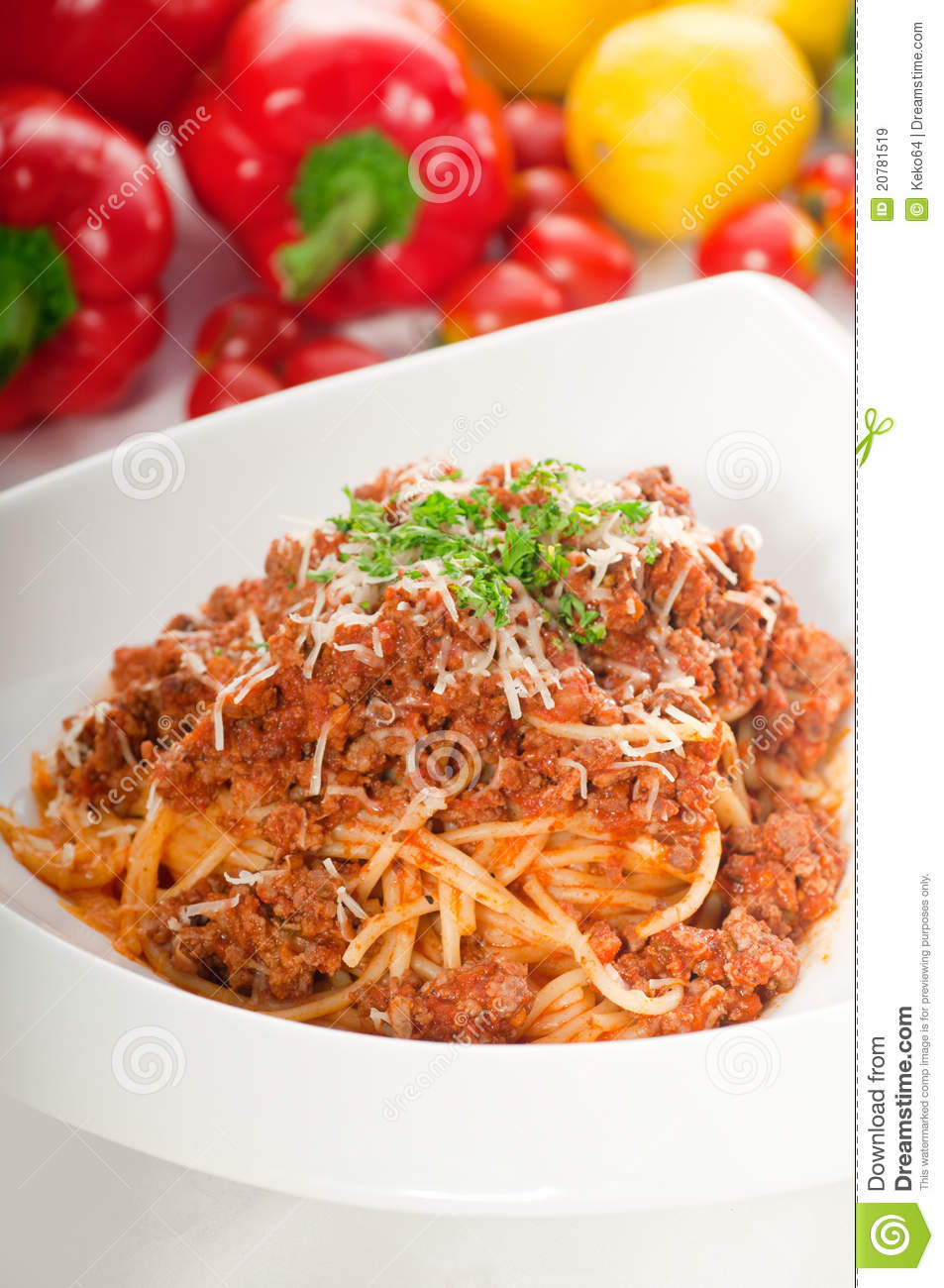 Italian classic spaghetti with bolognese sauce and fresh vegetables on ...