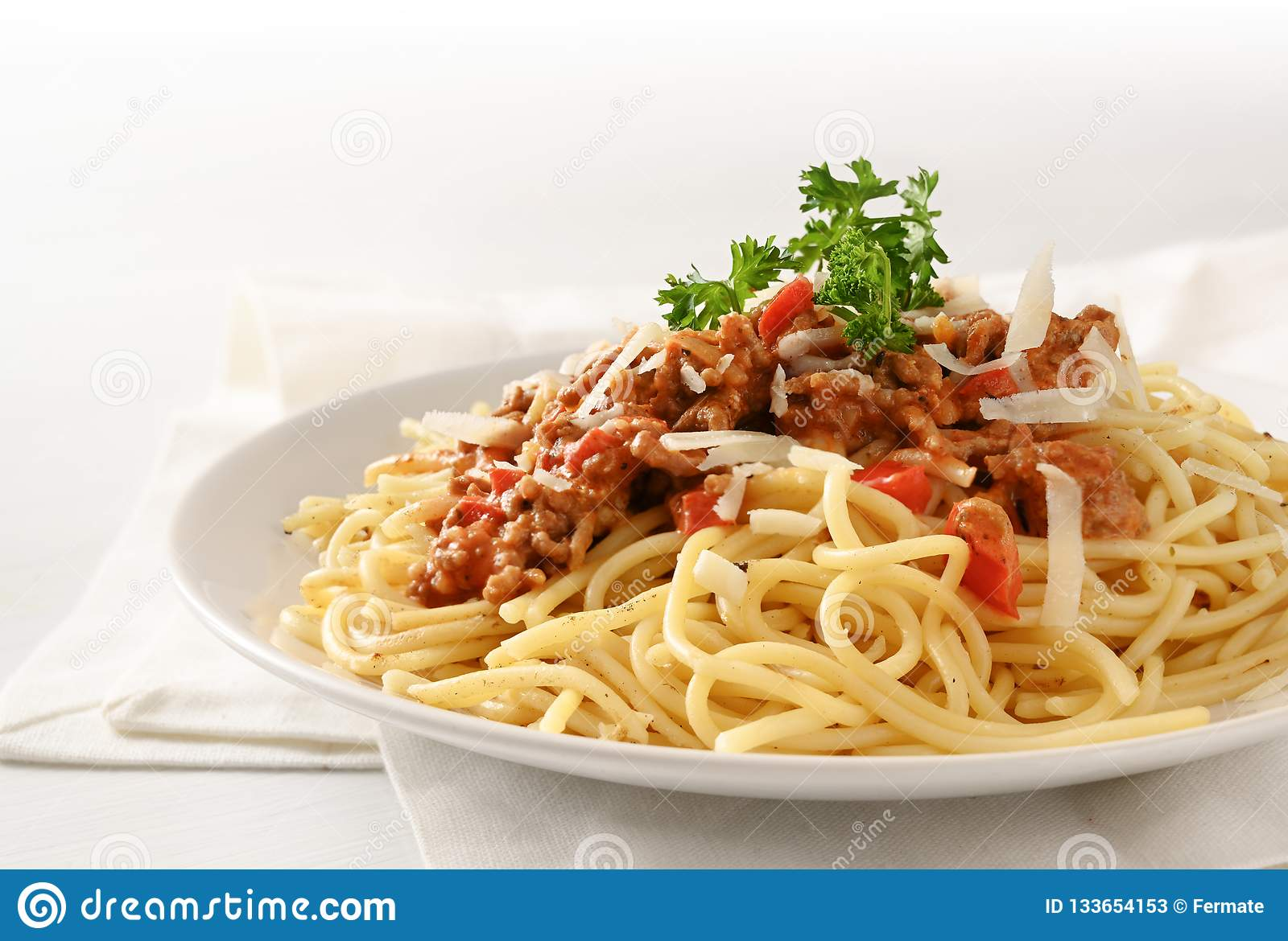 Spaghetti Plate With Sauce From Minced Meat And Tomato Parmesan Stock Image Image Of Food Cooking 133654153