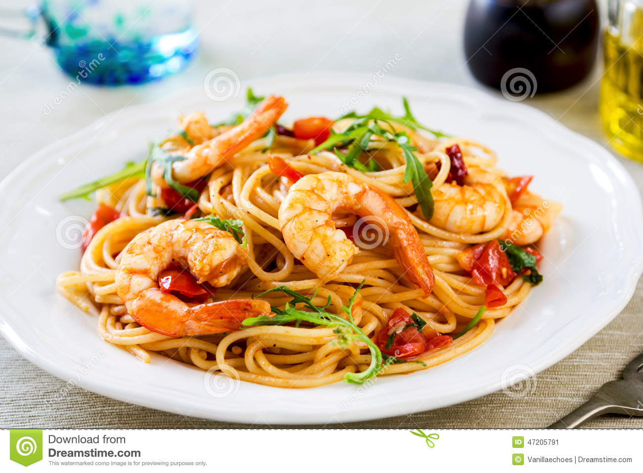 Download Spaghetti With Prawn And Tomato Stock Image - Image of italian, healthy: 47205791