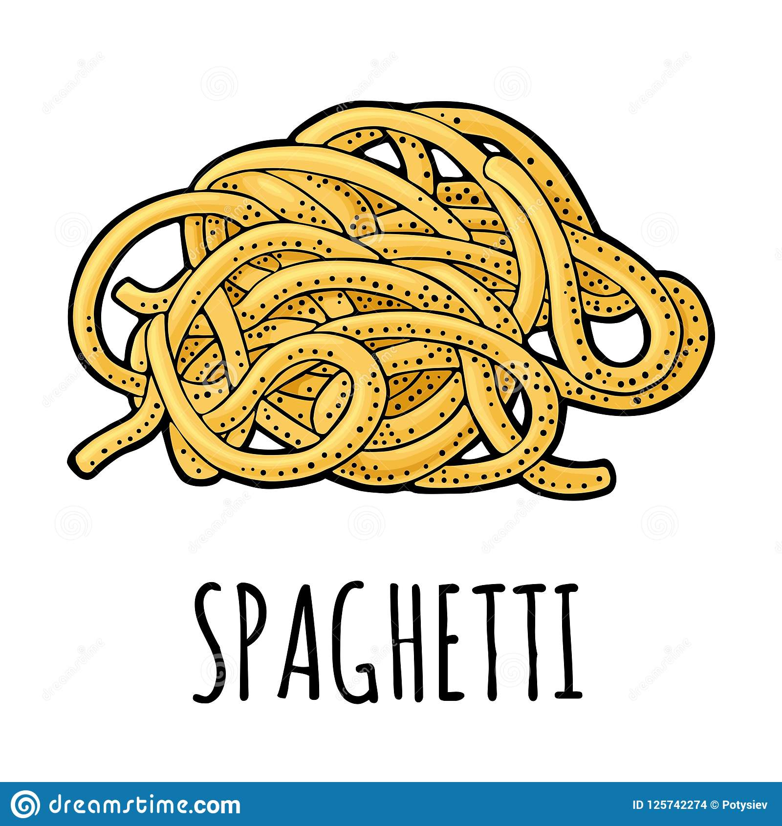 Spaghetti. Vector vintage engraving color illustration isolated on white background.