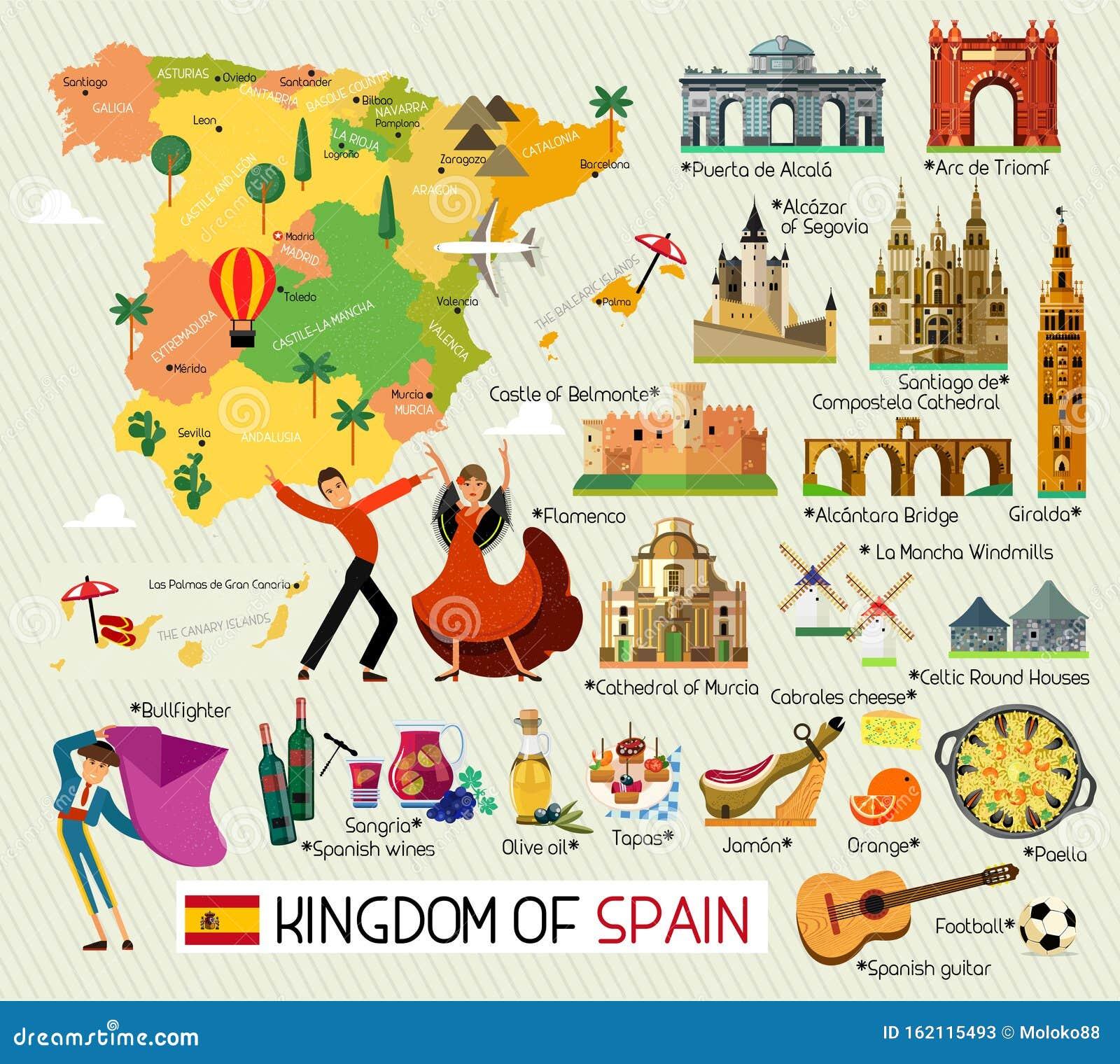 Cartina Turistica Spagna.Spagna Icone Di Viaggio Spagna Cartina Turistica Vettore Illustrazione Vettoriale Illustrazione Di Ballo Alimento 162115493