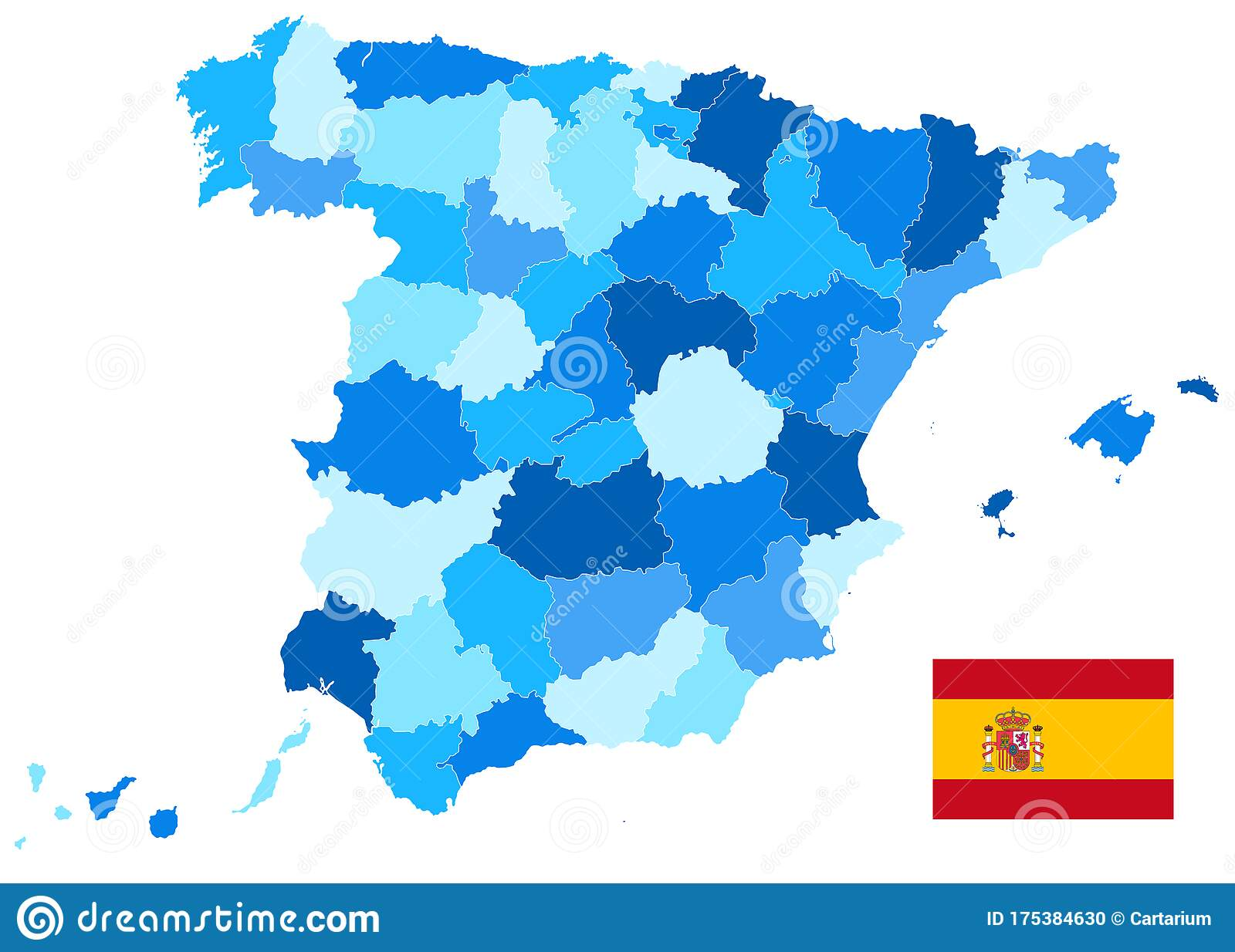 Picture of: Spain Administrative Divisions Map Blue Color Isolated On White Empty Map Stock Vector Illustration Of Blue Emblem 175384630