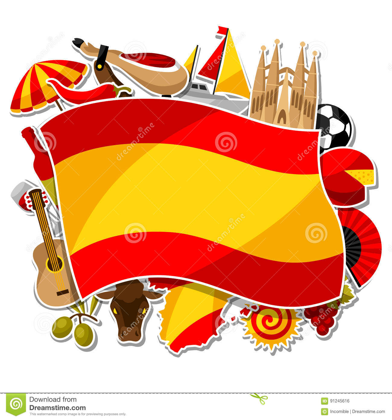 Art tree with spain symbols for your design — Stock Vector ...
