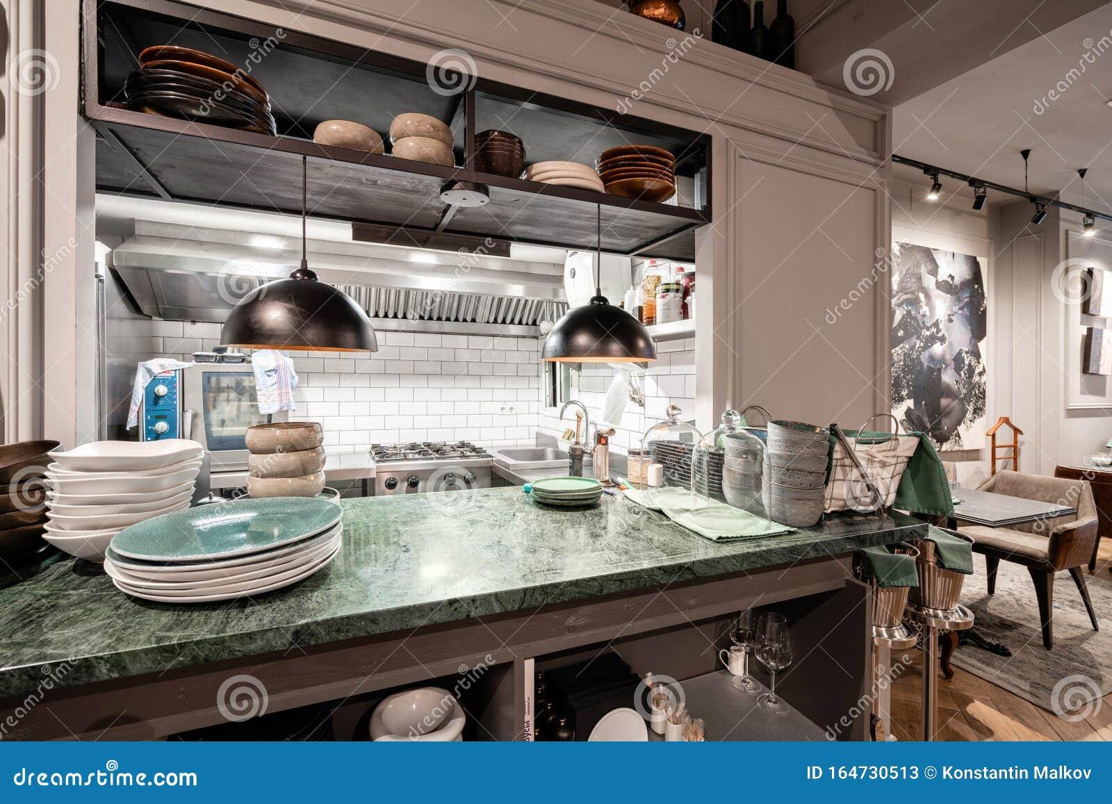 Spain Barcelona October 22 2019 Restaurant Vinogrado Open Kitchen Restaurant And Bar Interior Modern European Editorial Stock Photo Image Of Drink Barcelona 164730513