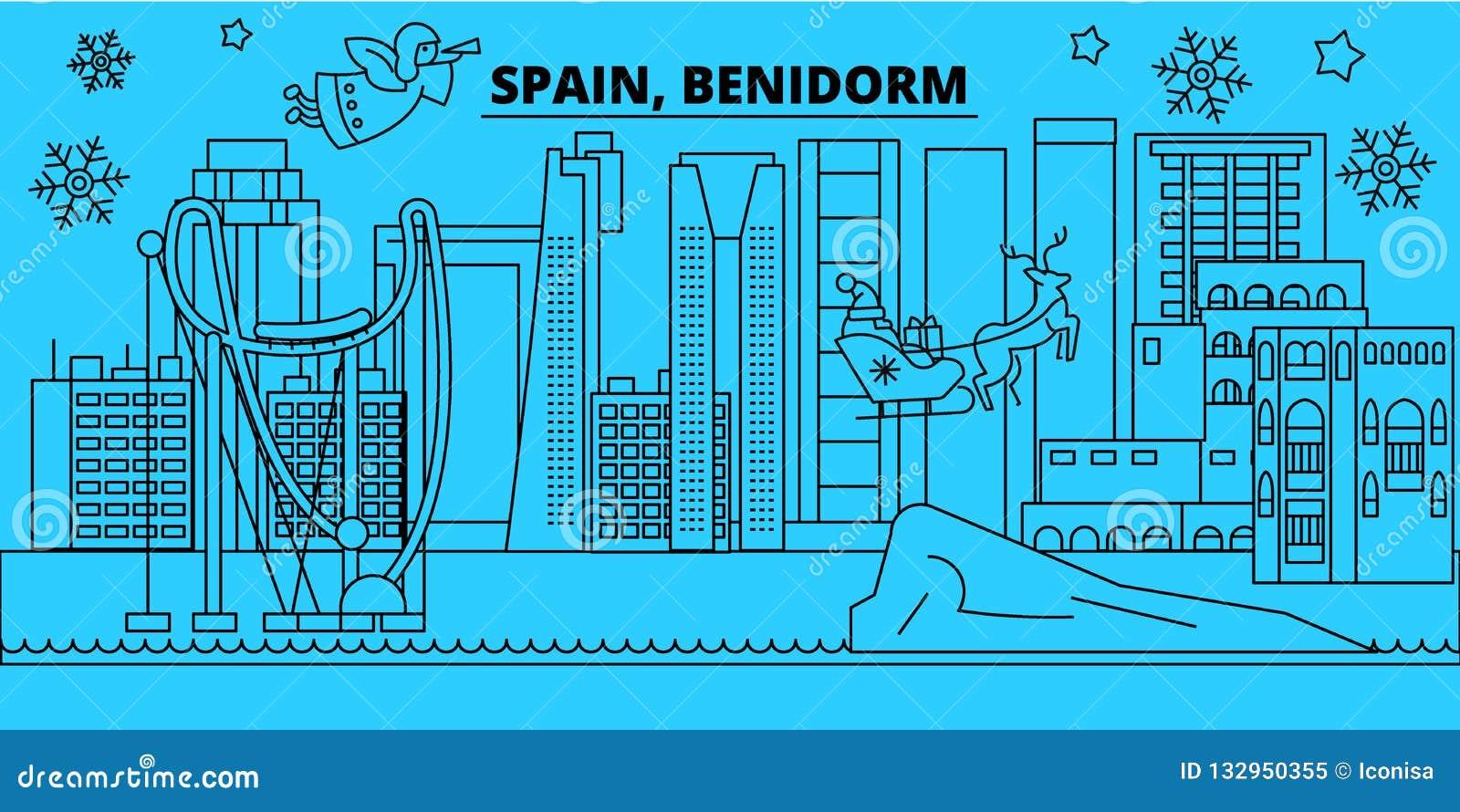 Spain, Benidorm Winter Holidays Skyline. Merry Christmas ...