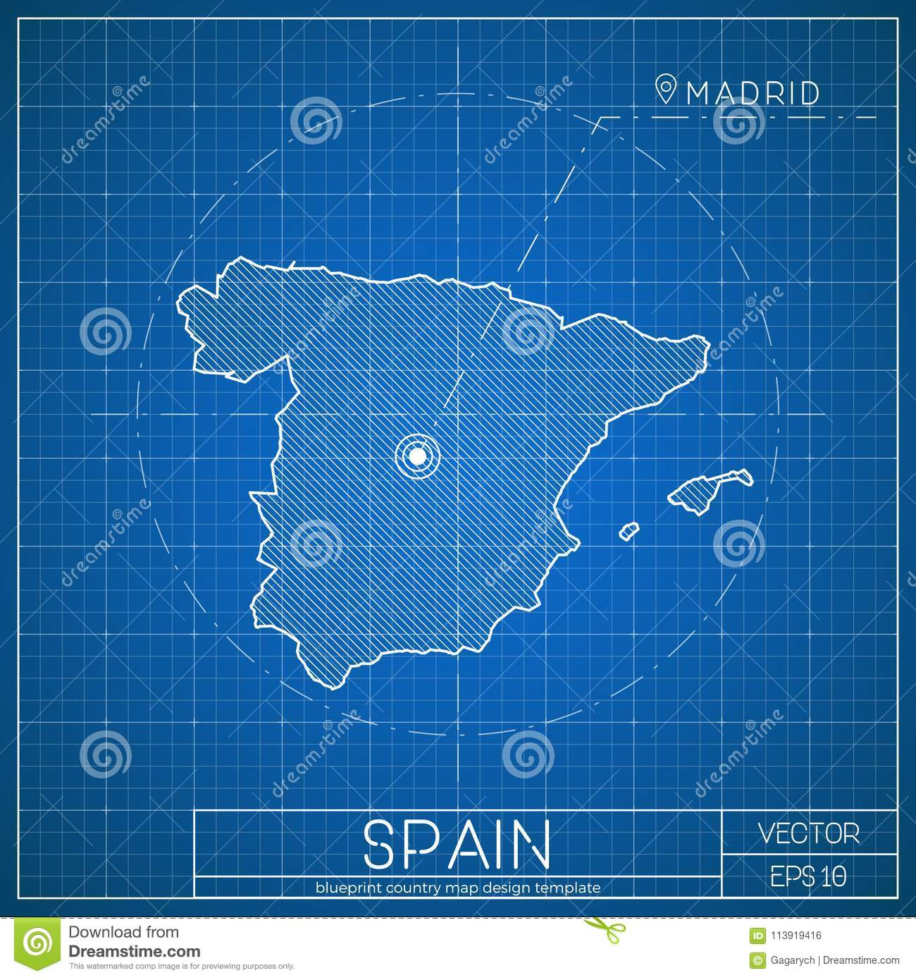 Spain blueprint map template with capital city stock vector spain blueprint map template with capital city malvernweather Gallery