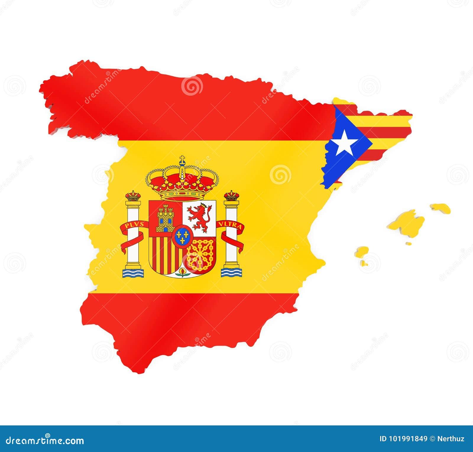 Catalunya Spain Map.Spain And Catalonia Map Isolated Stock Illustration Illustration