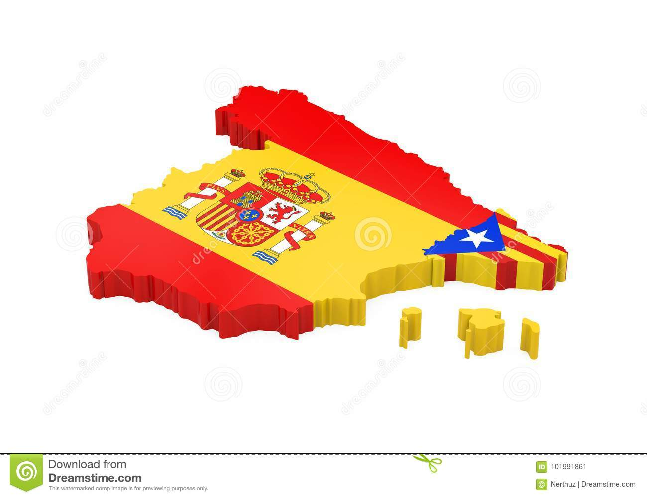 Map Of Spain And Catalonia.Spain And Catalonia Map Isolated Stock Illustration Illustration