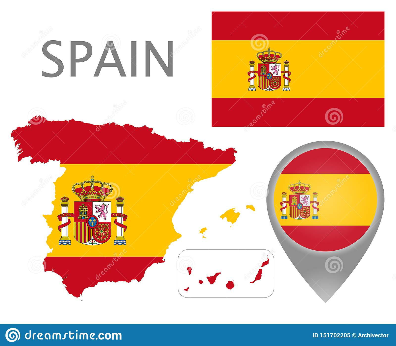 Spain flag, map and map pointer