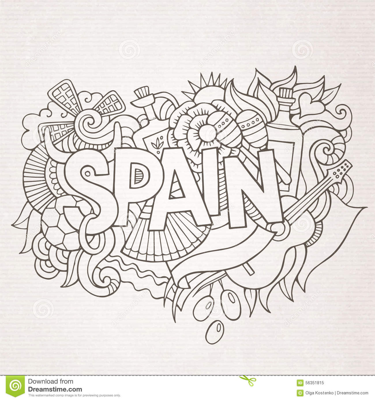 Spain Country Hand Lettering And Doodles Elements Stock
