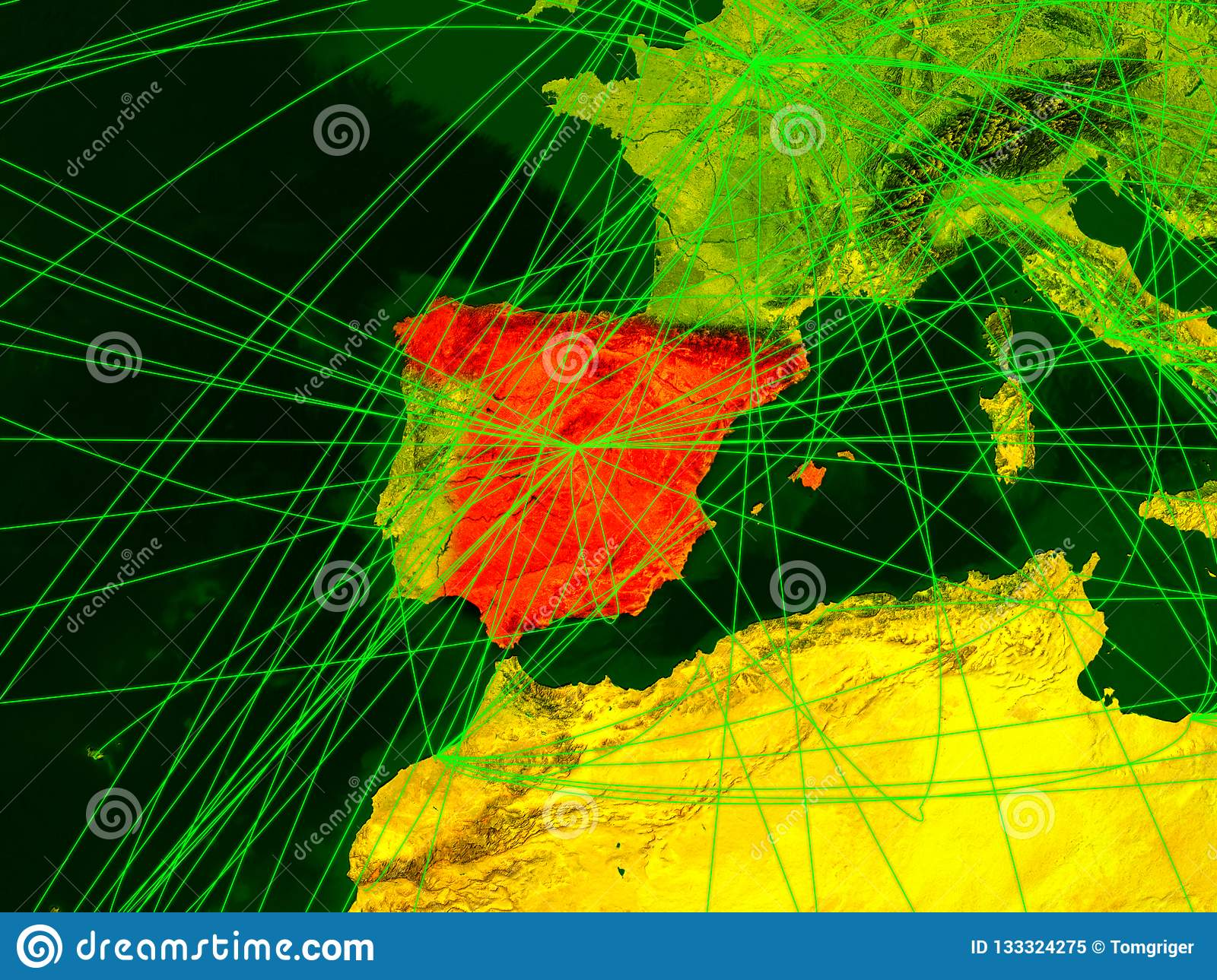 Travel Map Of Spain.Spain On Digital Map Stock Illustration Illustration Of World
