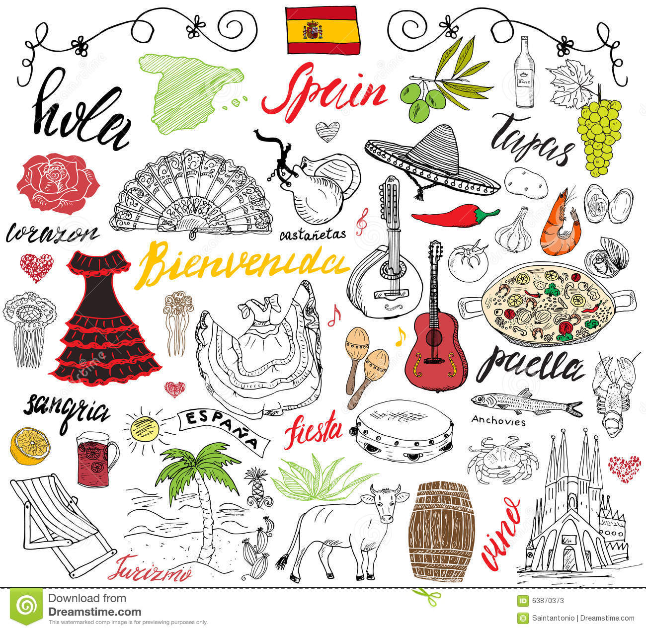 Dessin Paella spain doodles elements. hand drawn set with spanish food paella