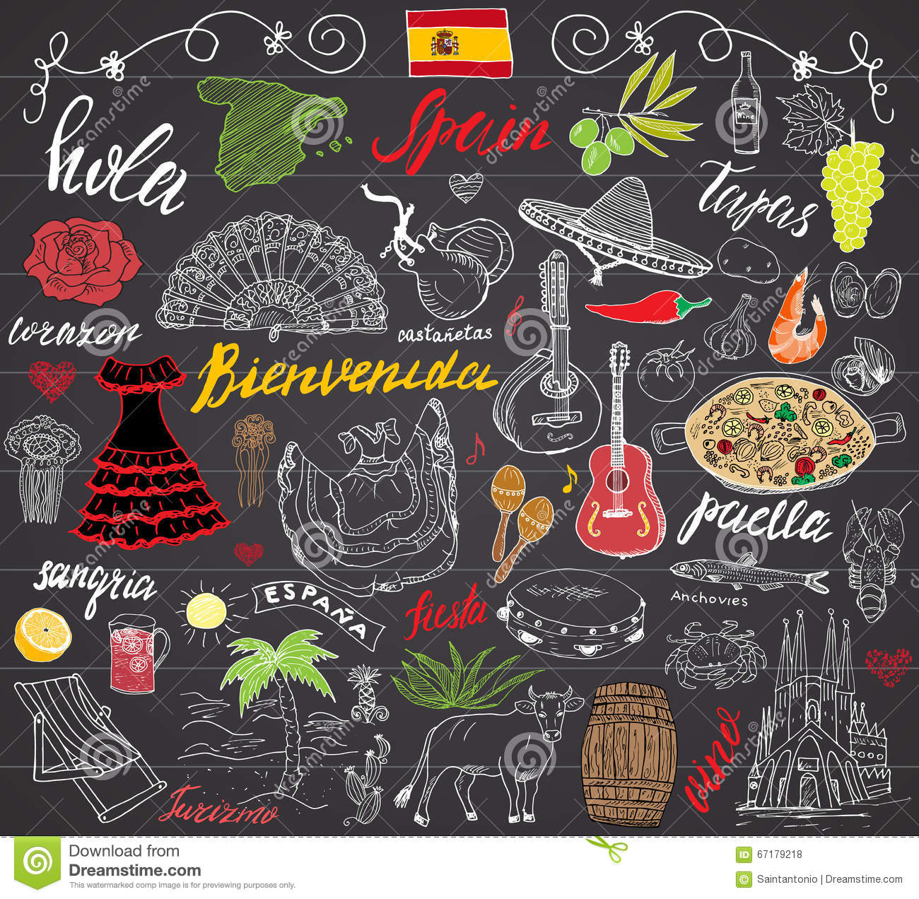 Stock vector music hand lettering and doodles elements - Spain Doodles Elements Hand Drawn Set With Spanish Lettering Food Paella Shrimp