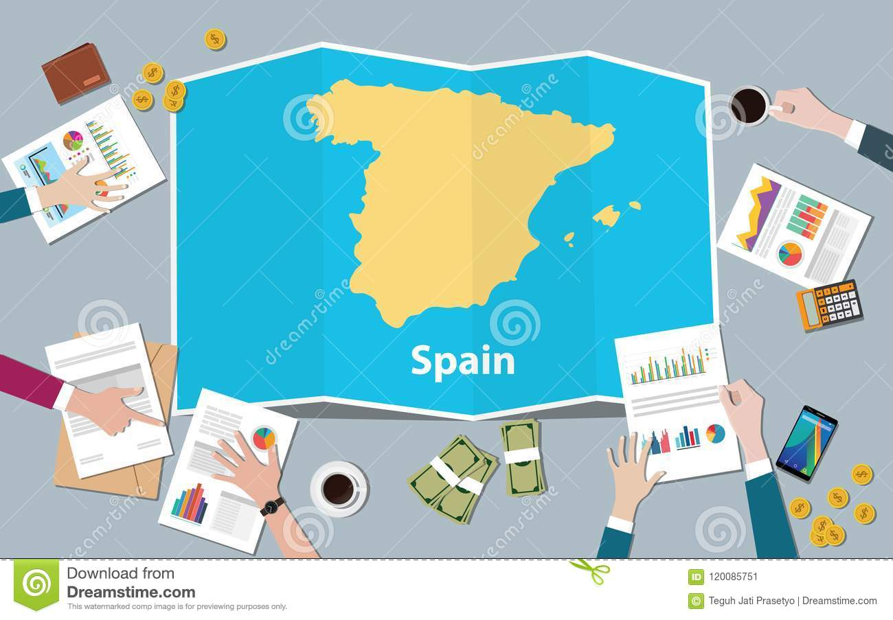 Spain economy country growth nation team discuss with fold maps view from top