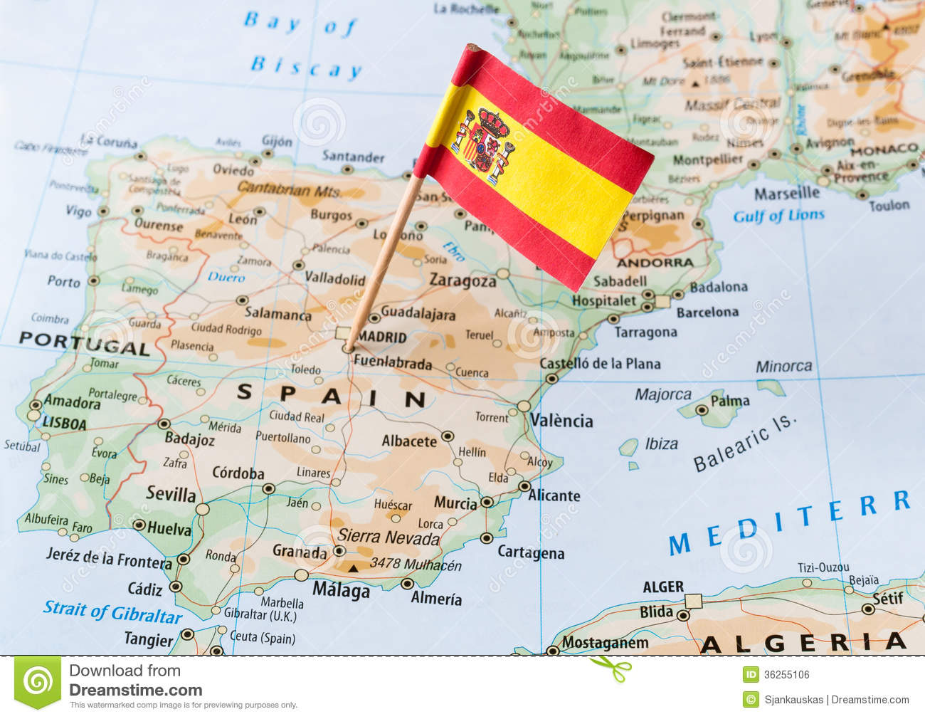 Spain Flag On Map Royalty Free Stock Image - Image: 36255106