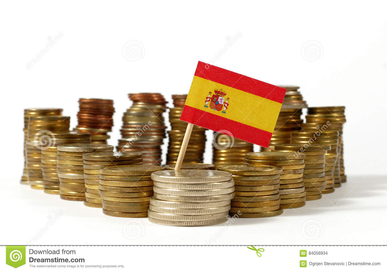 Spain flag with stack of money coins